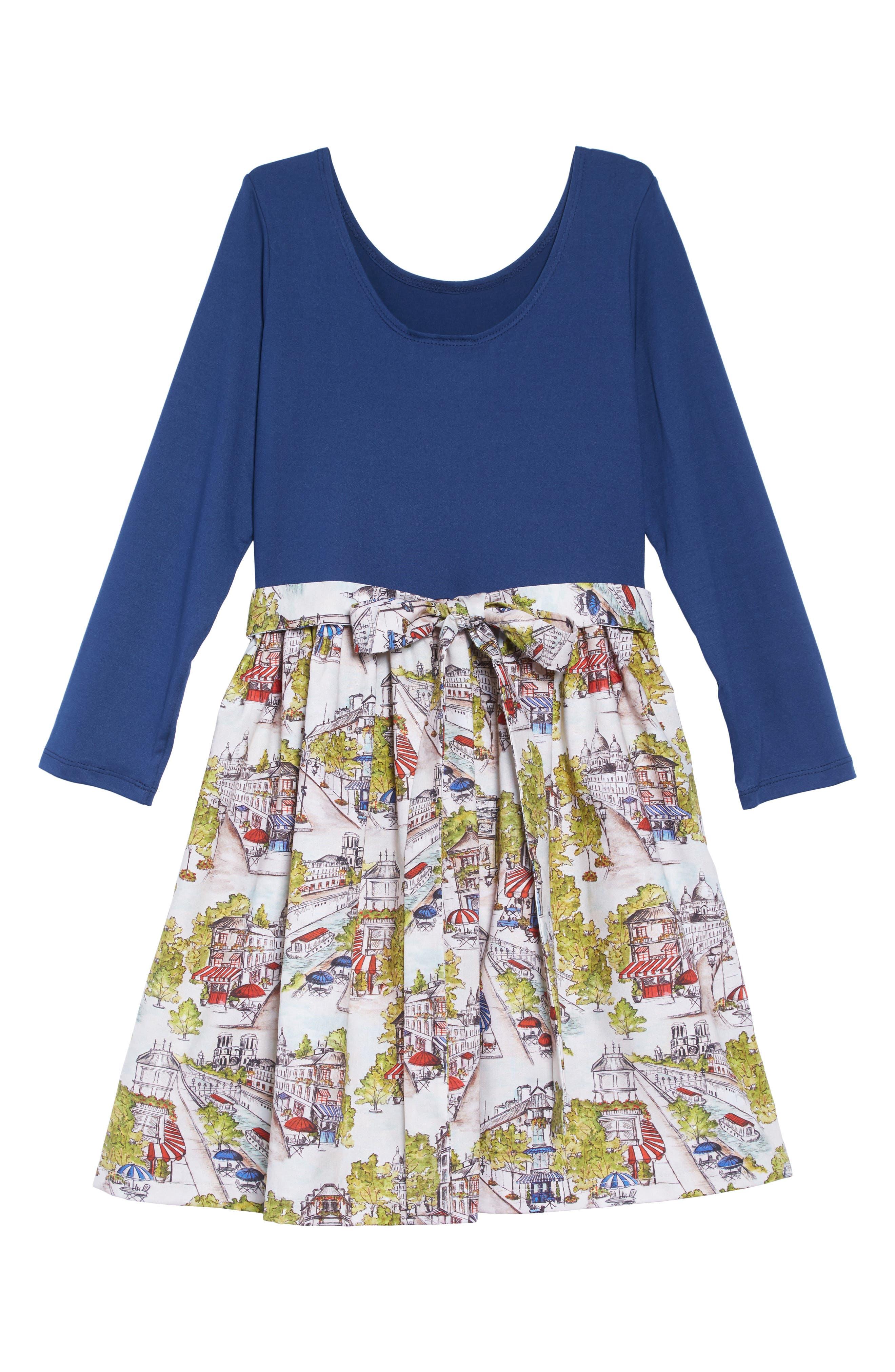 Print A-Line Dress,                             Alternate thumbnail 2, color,                             BLUE