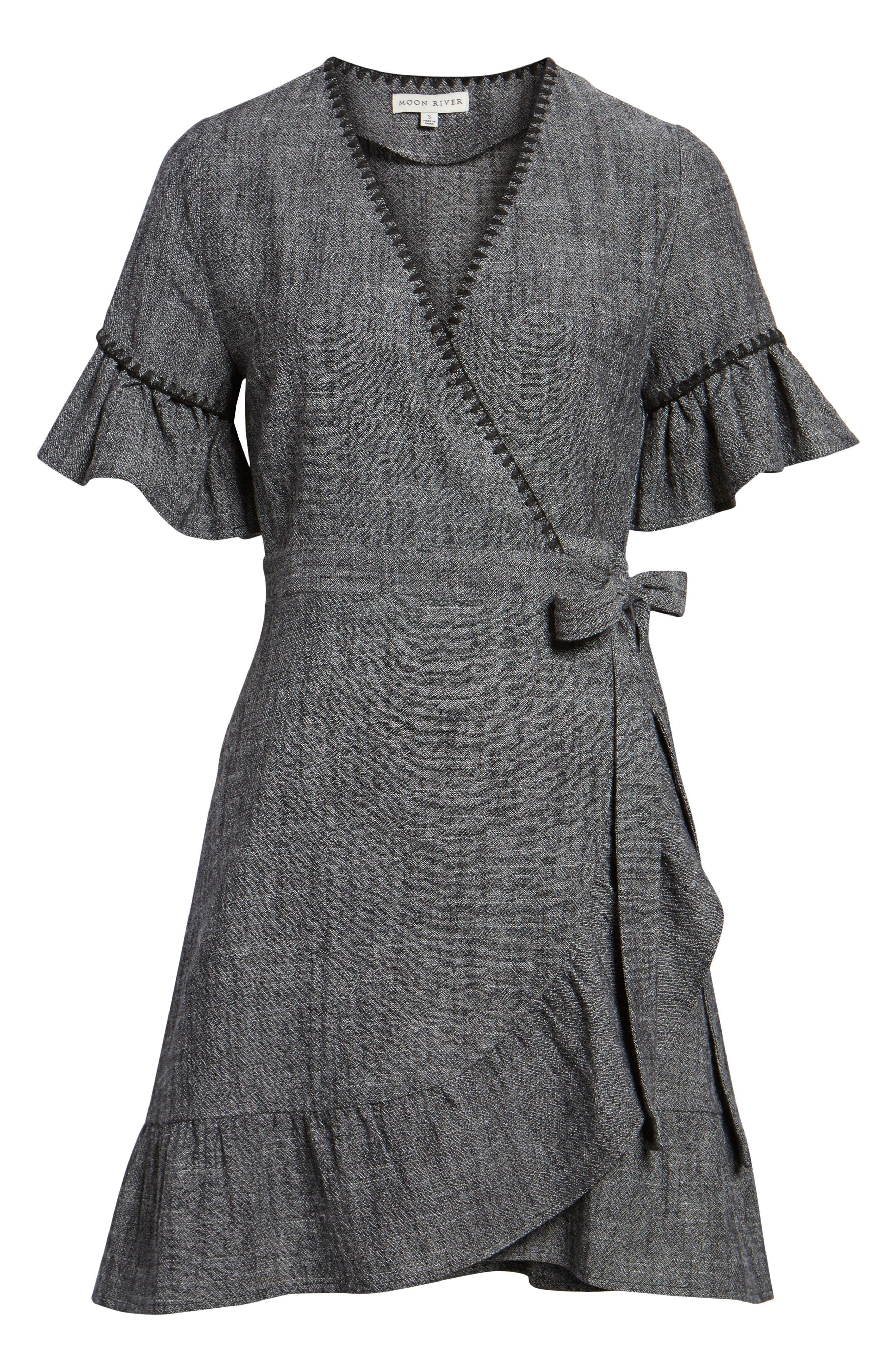 Blanket Stitch Wrap Dress,                             Alternate thumbnail 11, color,