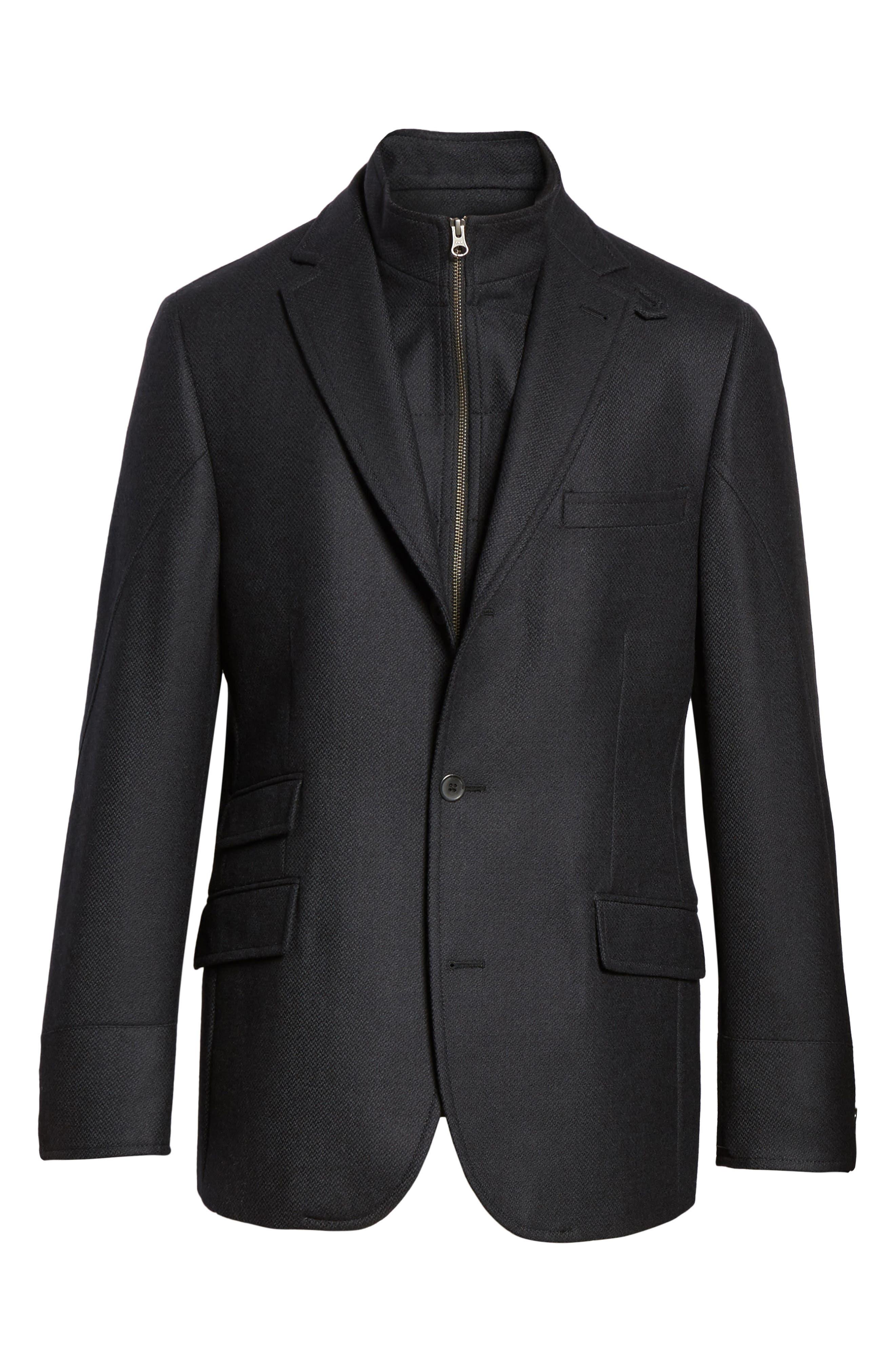 Classic Fit Wool & Cashmere Hybrid Coat,                             Alternate thumbnail 5, color,                             001