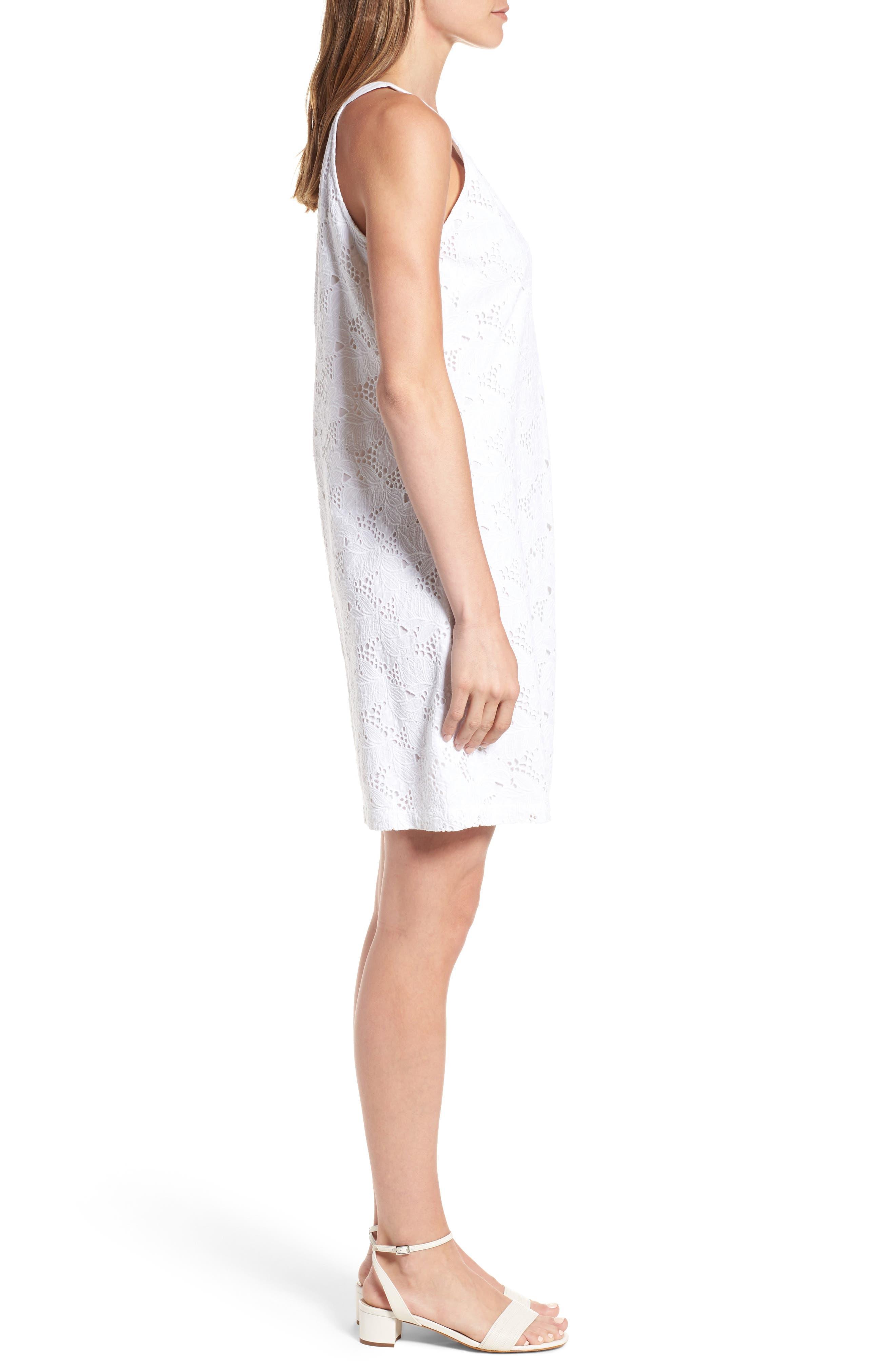 Eyelet Cotton Shift Dress,                             Alternate thumbnail 3, color,                             100