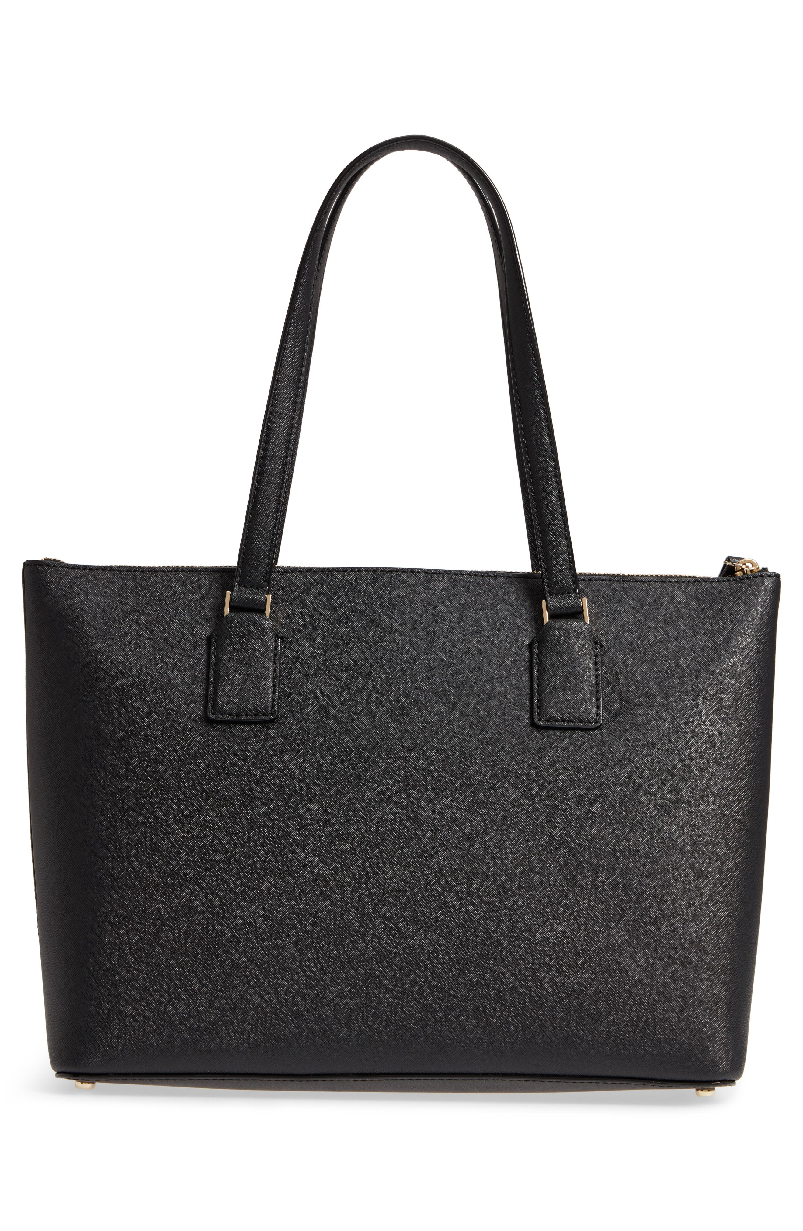 cameron street – audrey leather laptop tote,                             Alternate thumbnail 3, color,                             BLACK
