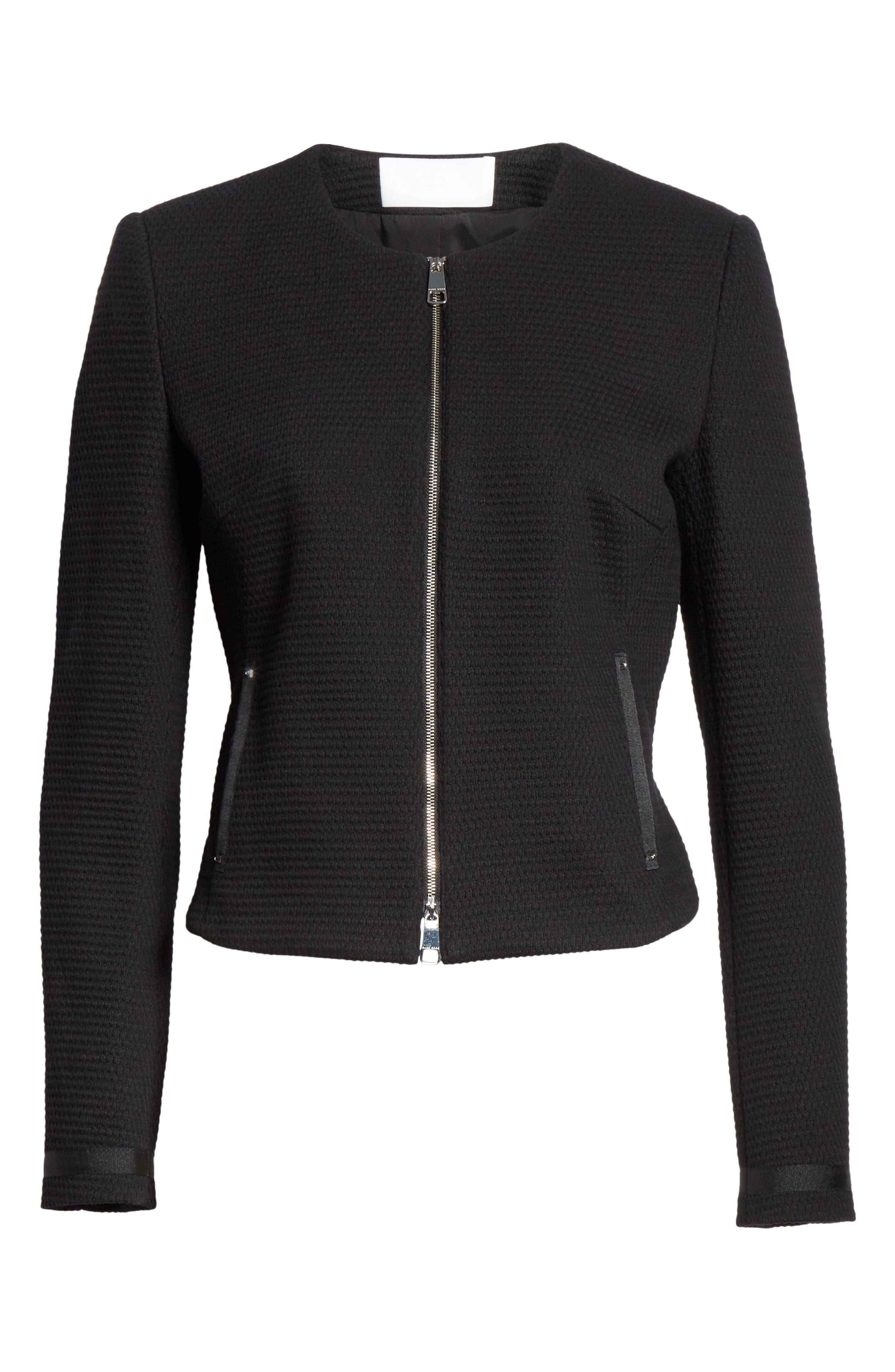 Kemio Textured Jersey Suit Jacket,                             Alternate thumbnail 5, color,                             BLACK