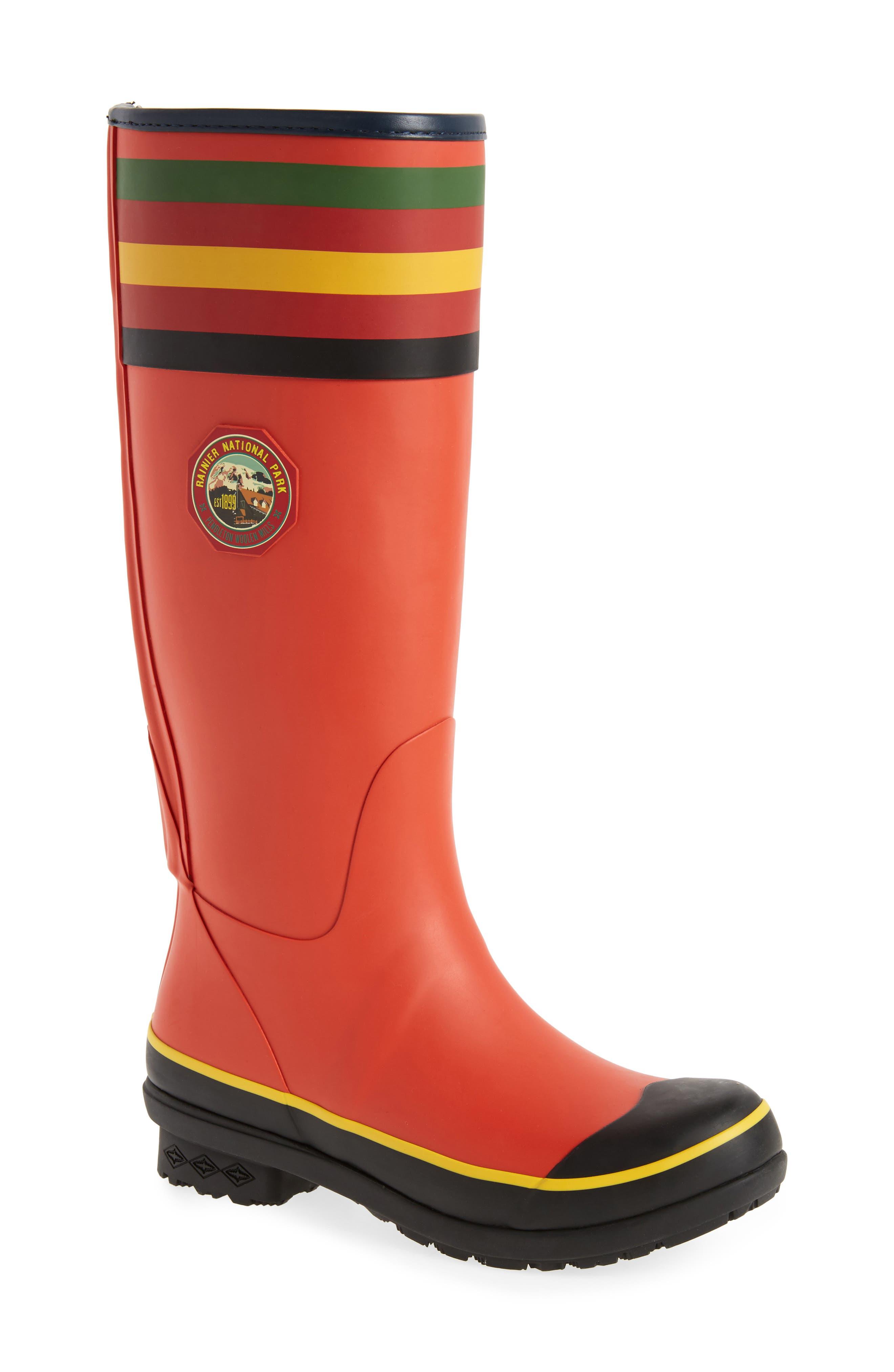 Rainier National Park Tall Rain Boot,                         Main,                         color, RED