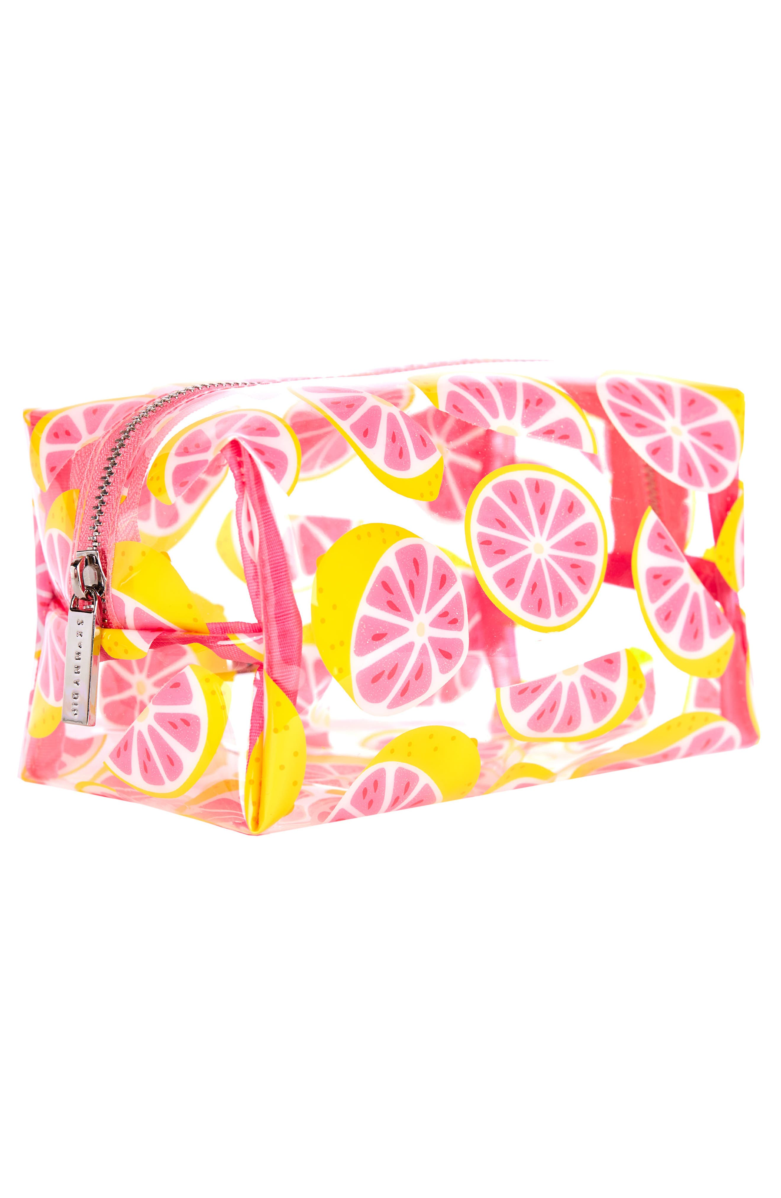 Skinny Dip Glitter Grapefruit Cosmetics Case,                             Alternate thumbnail 2, color,                             NO COLOR