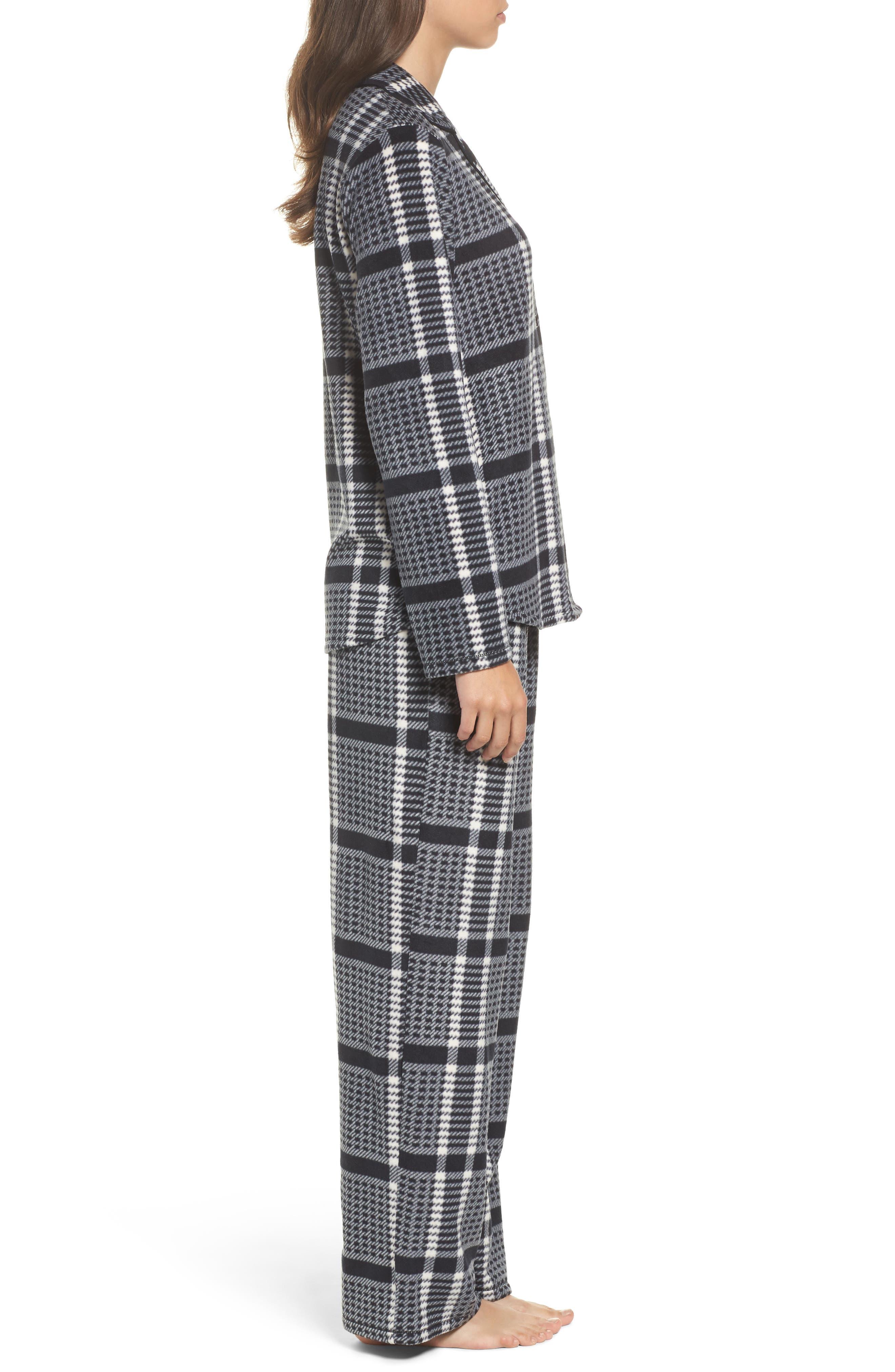Stretch Fleece Long Pajamas,                             Alternate thumbnail 3, color,                             005