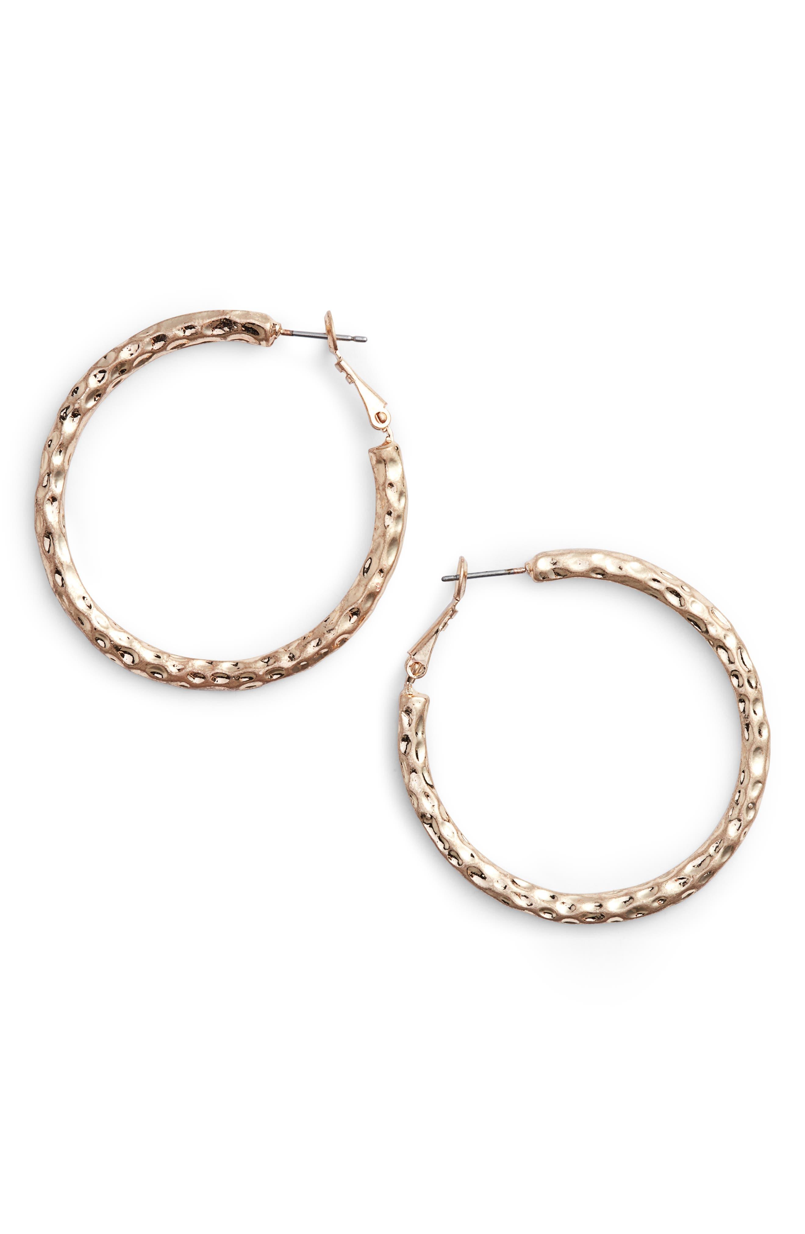 Medium Textured Hoop Earrings,                             Main thumbnail 1, color,                             710
