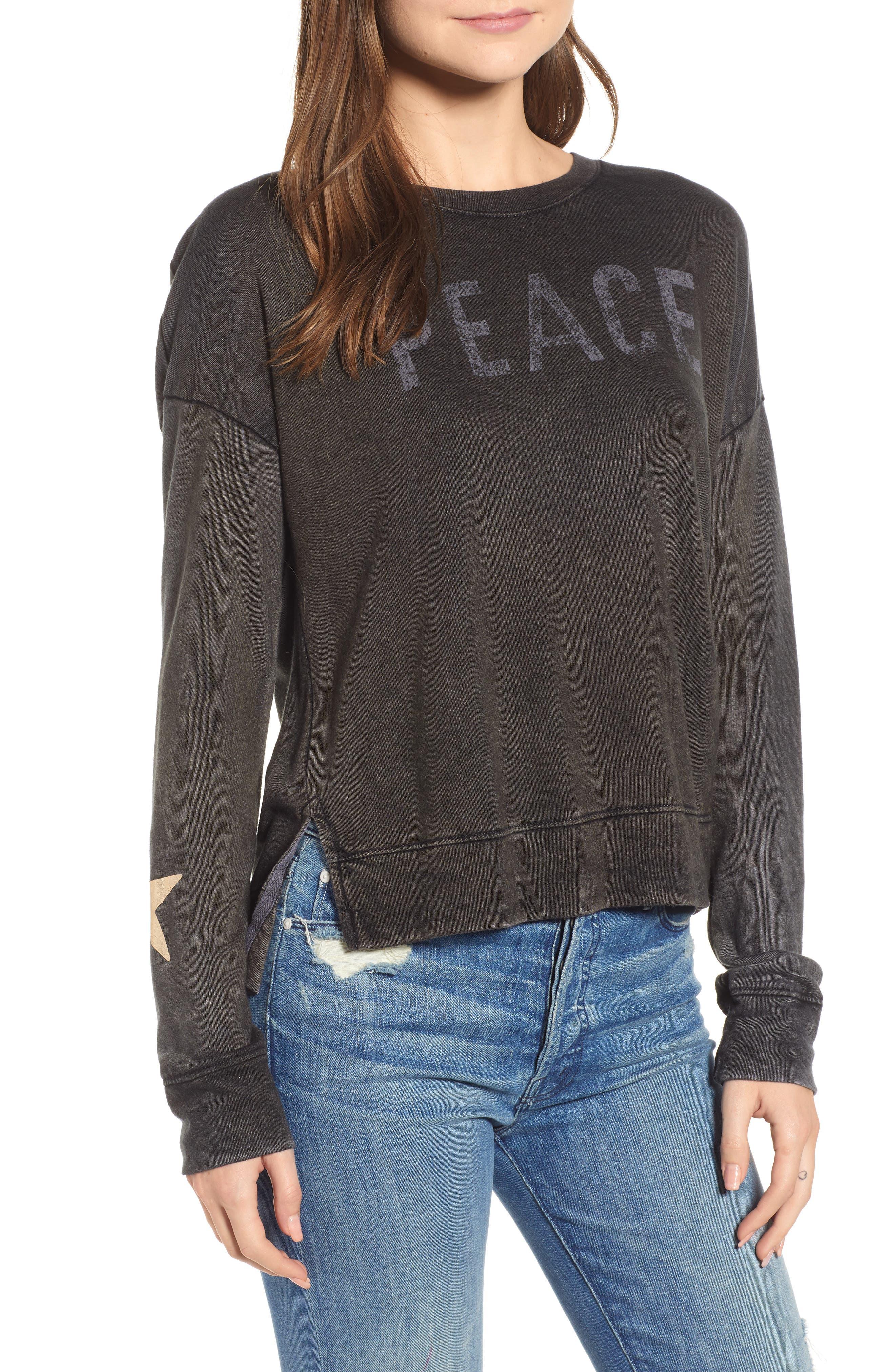 Peace Terry Sweatshirt,                         Main,                         color, VINTAGE BLACK