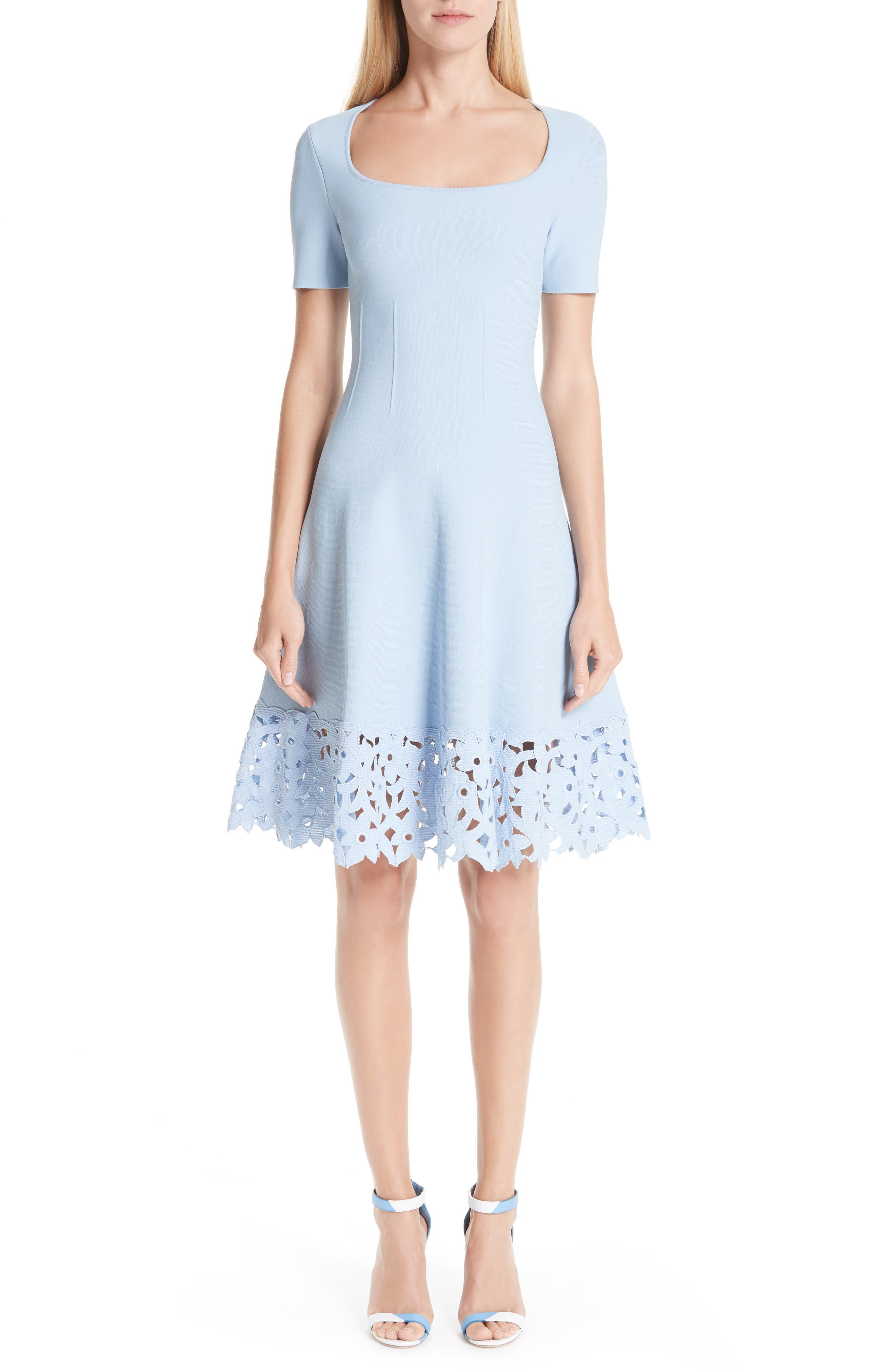 Oscar De La Renta Cutout Hem A-Line Dress, Blue