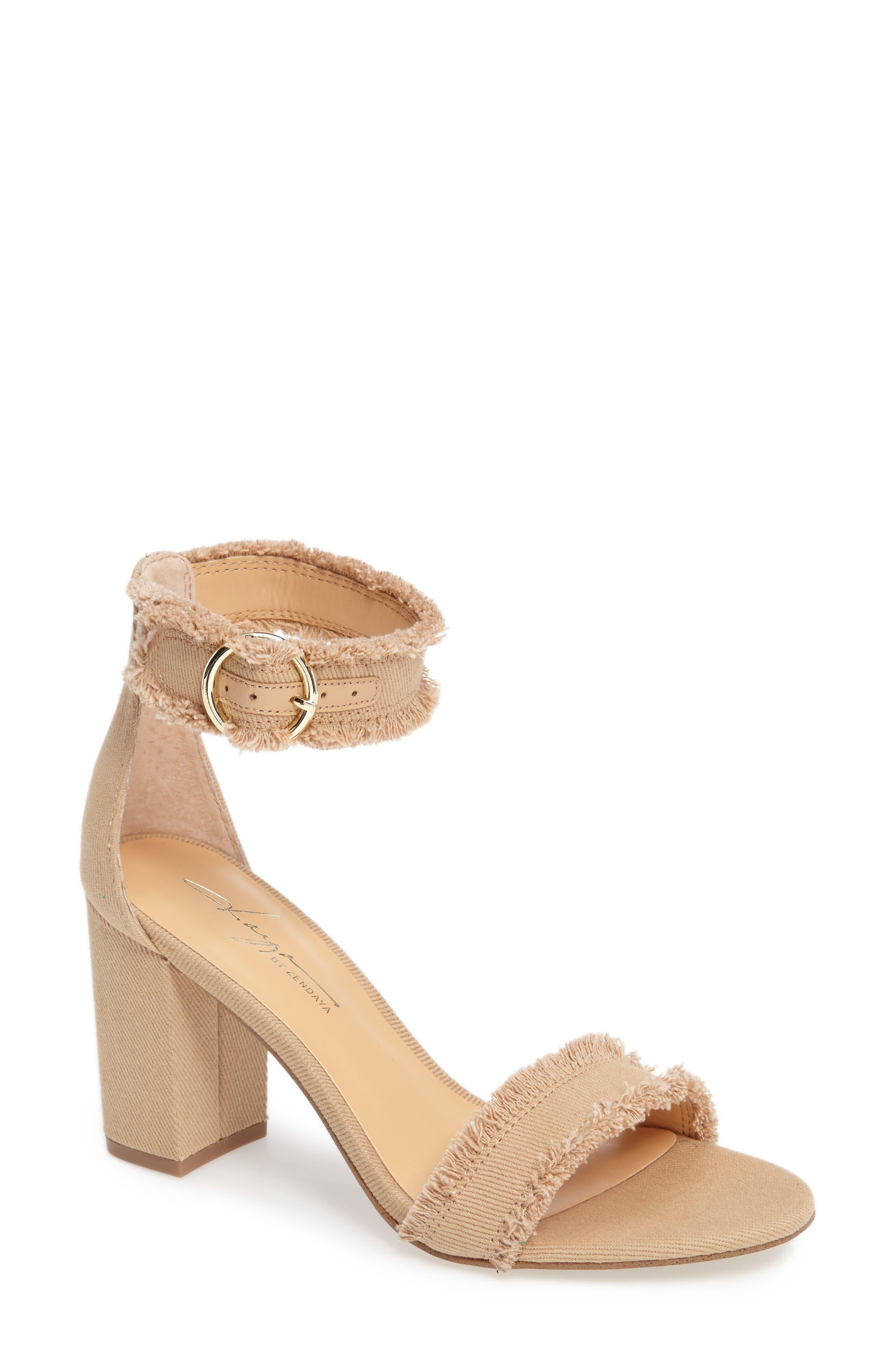 by Zendaya Shasta Fringe Denim Ankle Strap Sandal,                             Main thumbnail 2, color,