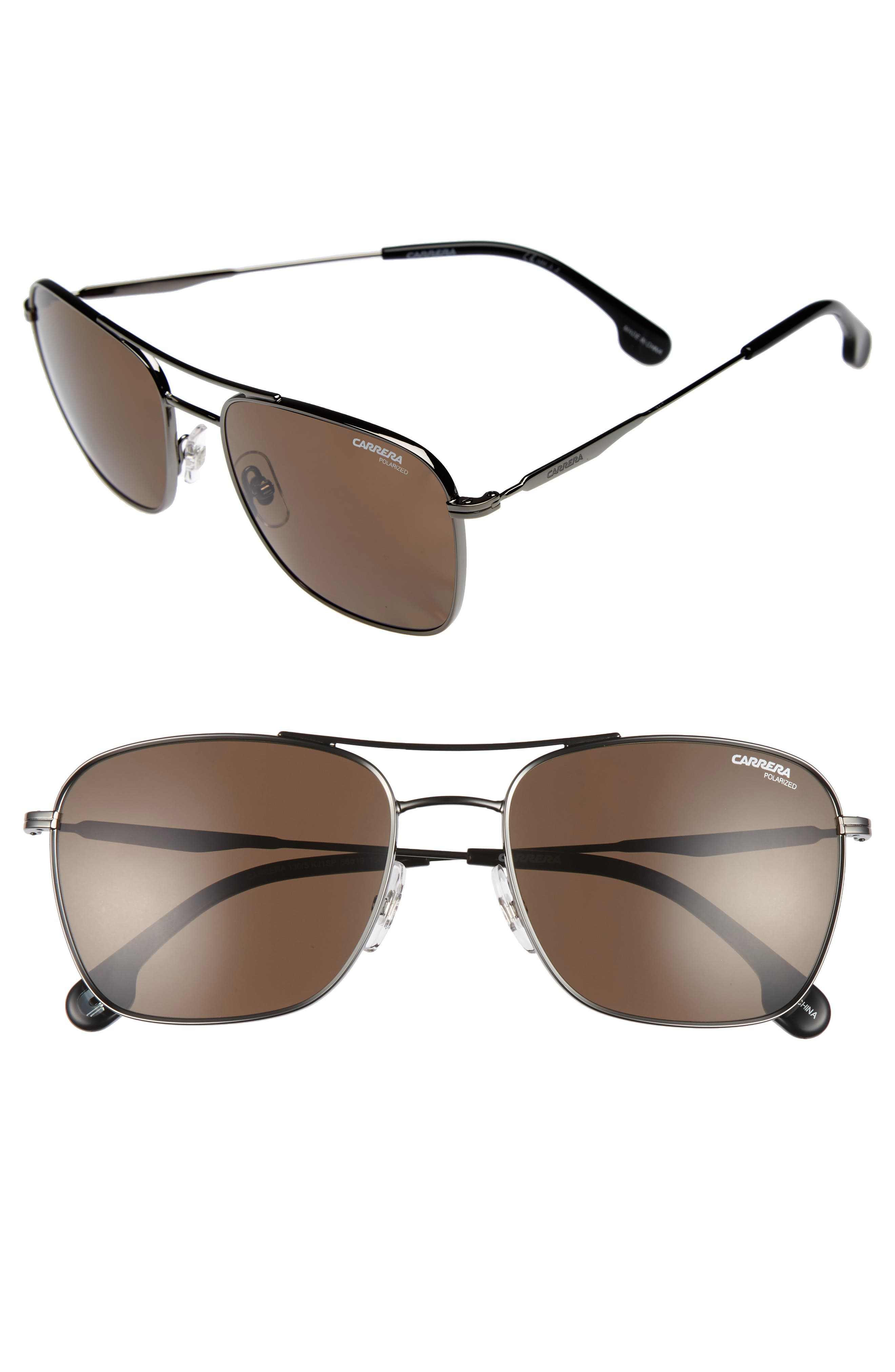 58m Polarized Sunglasses,                             Main thumbnail 1, color,                             DARK RUTHENIUM