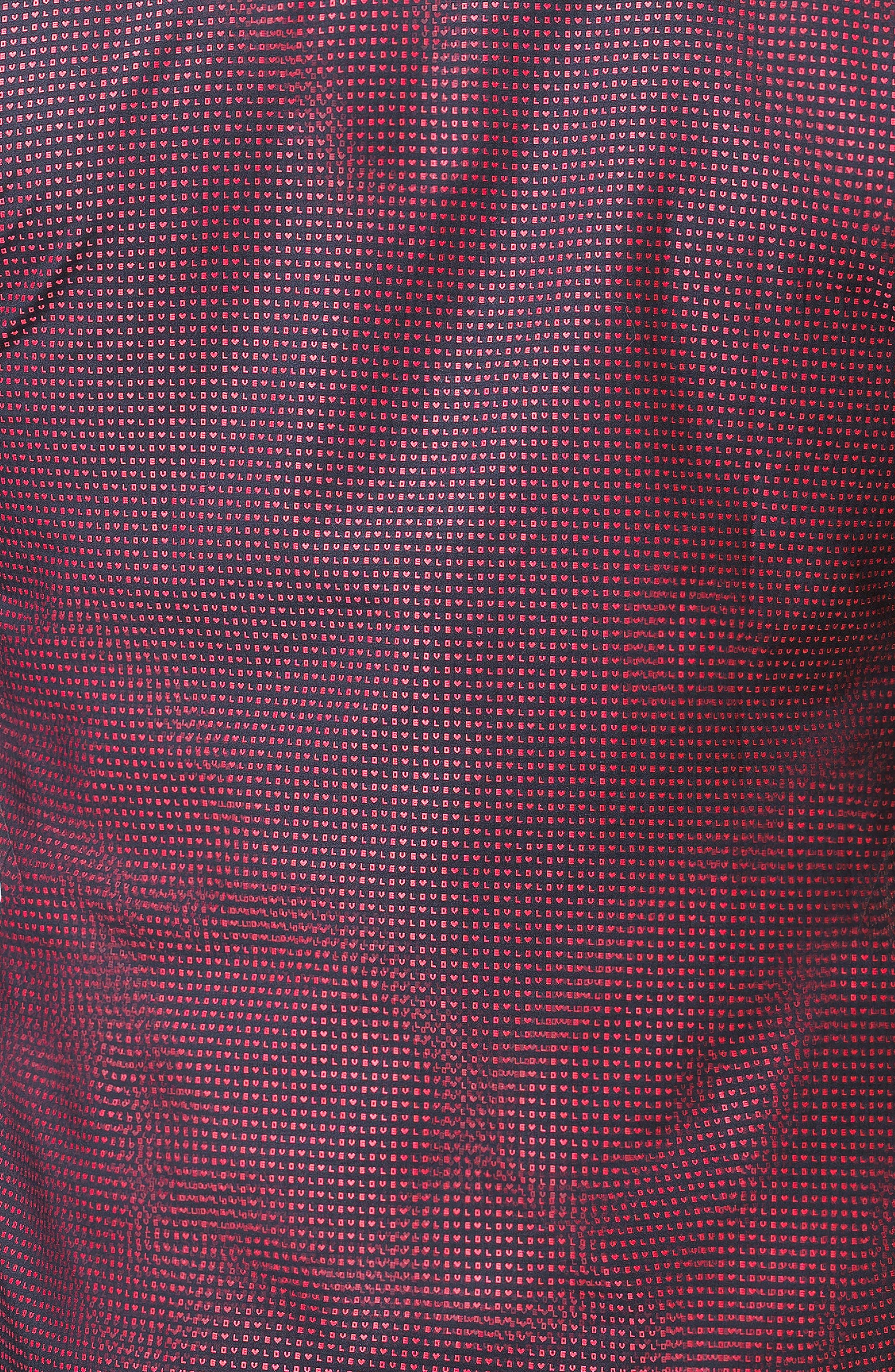 Fibonacci Love Trim Fit Print Sport Shirt,                             Alternate thumbnail 3, color,                             RED