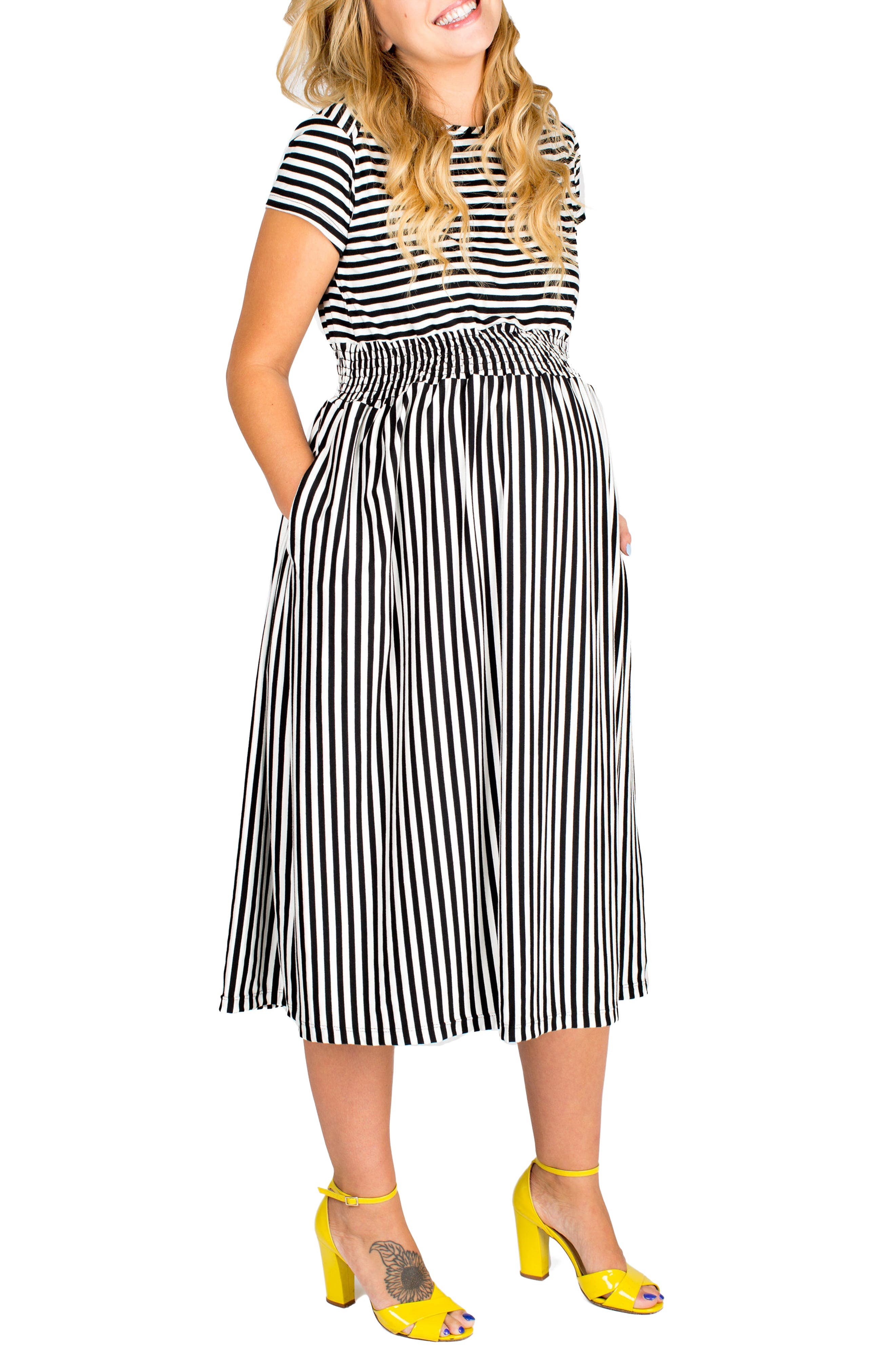 NOM MATERNITY Nom 'Max' Print Midi Maternity Dress, Main, color, 002