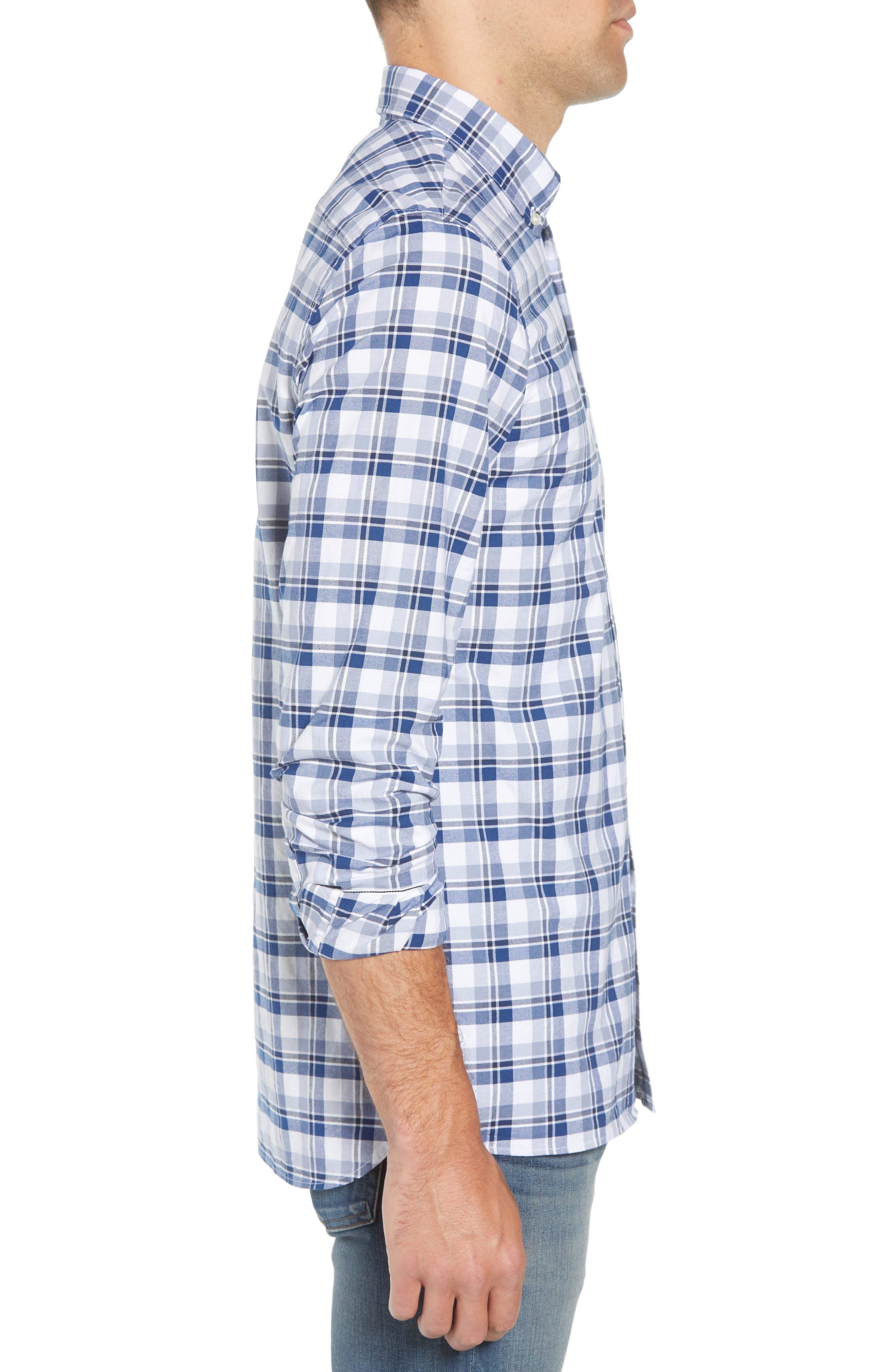 Slim Fit Check Oxford Sport Shirt,                             Alternate thumbnail 3, color,                             400