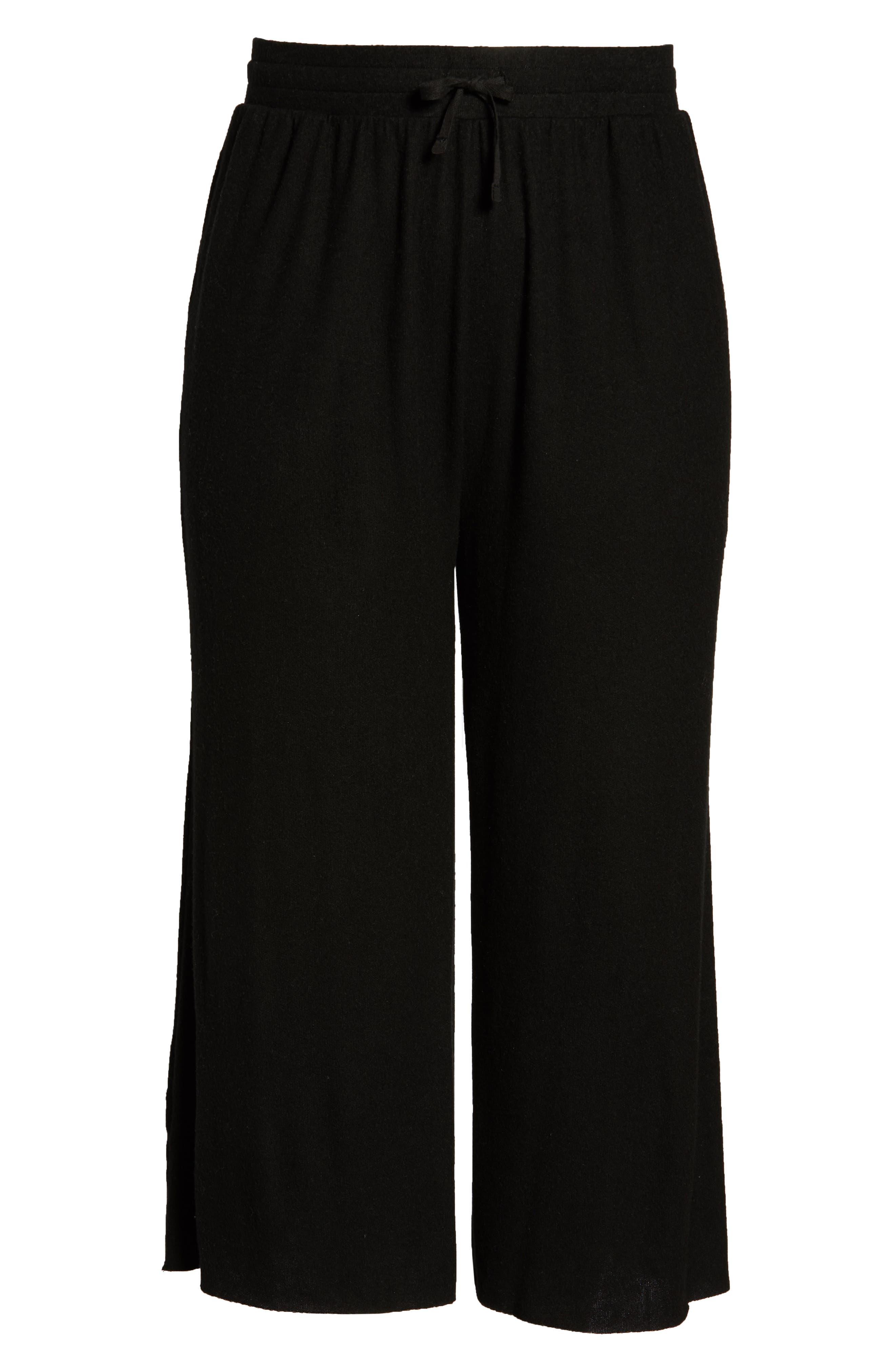 High Rise Wide Leg Knit Crop Pants,                             Alternate thumbnail 6, color,                             BLACK