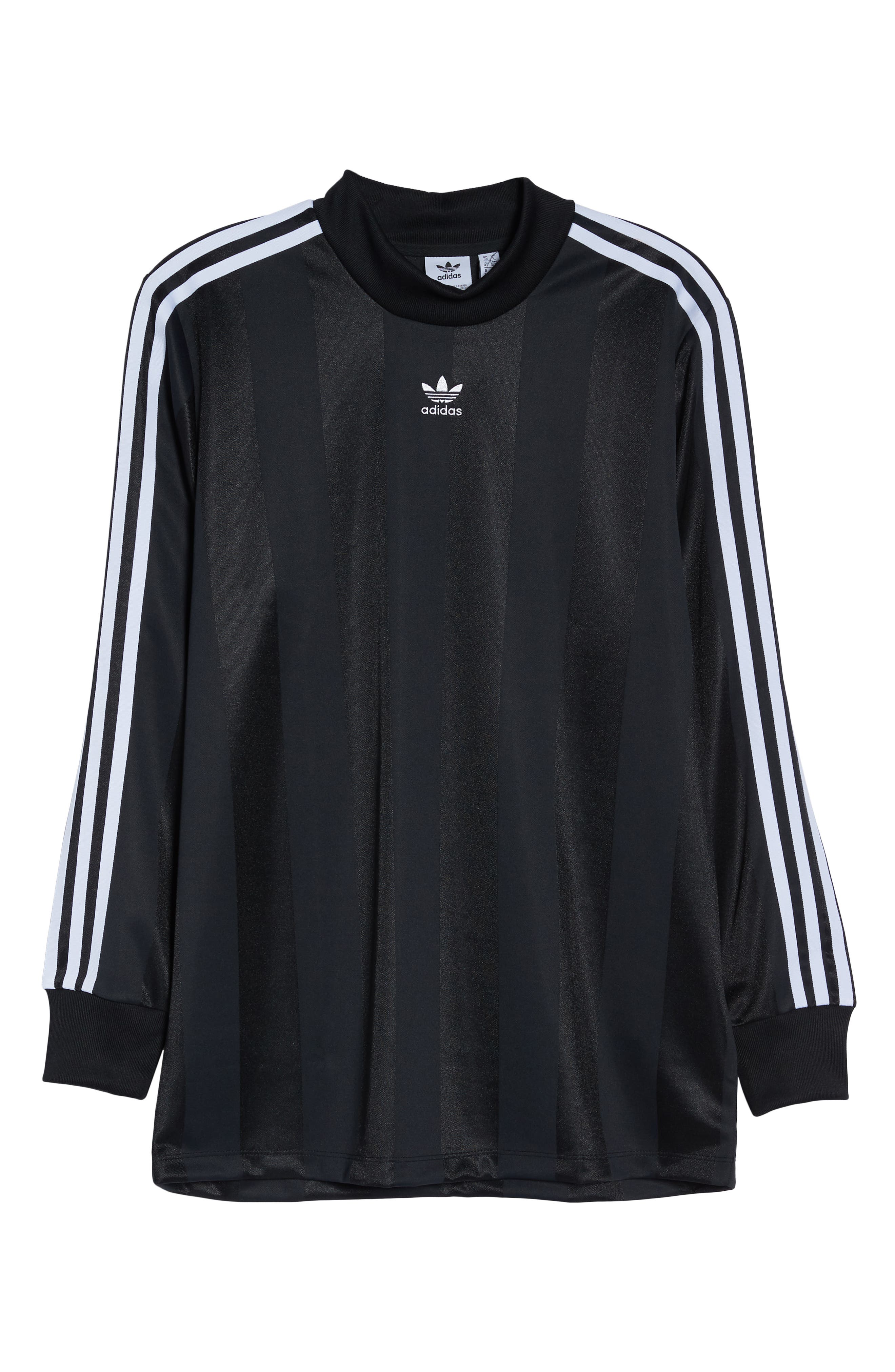 adidas 3-Stripes Long Sleeve Tee,                             Alternate thumbnail 7, color,                             001