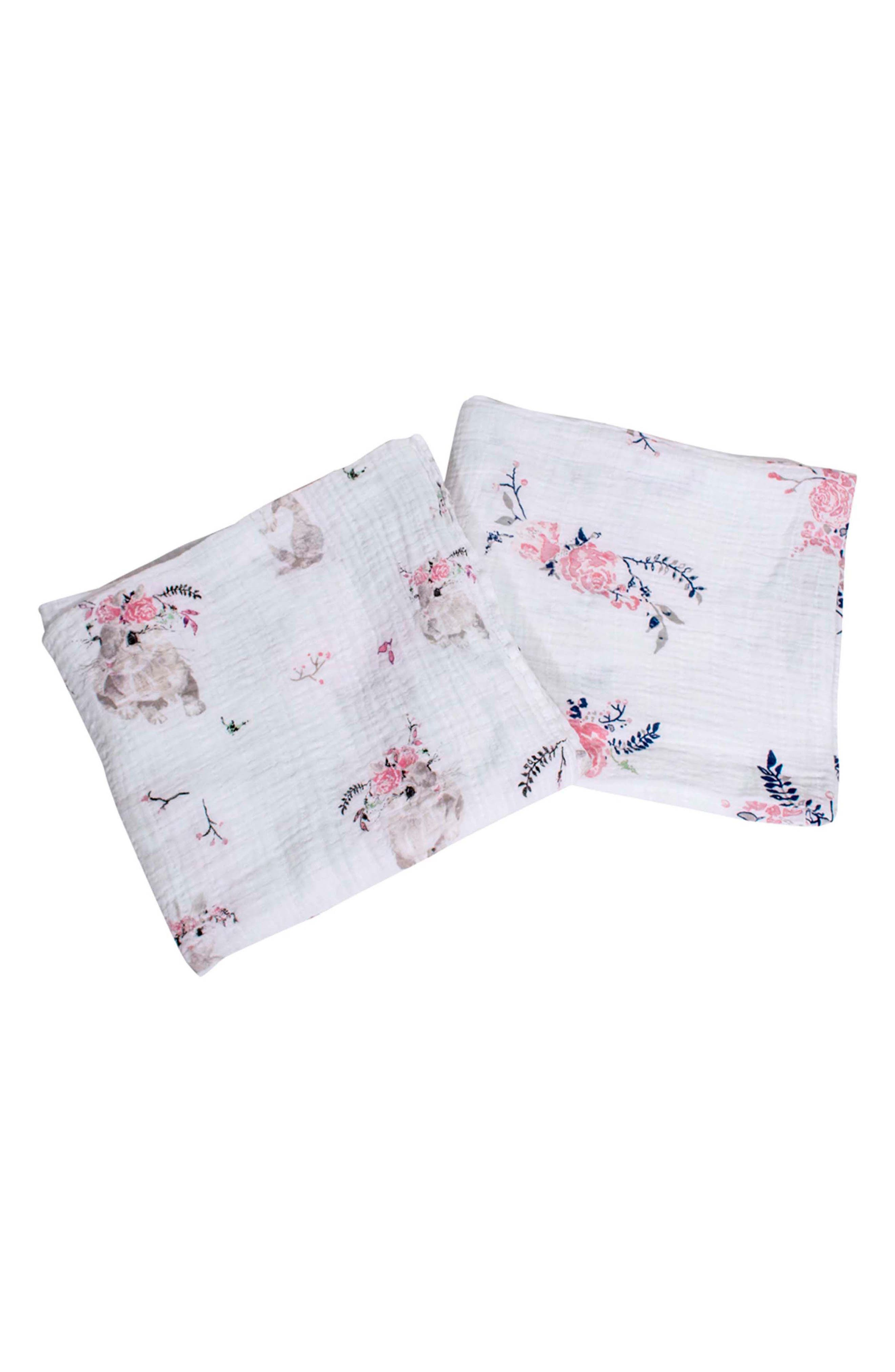 Classic 2-Pack Muslin Swaddle Blankets,                             Main thumbnail 1, color,                             BUNNY TAILS/ GARLAND