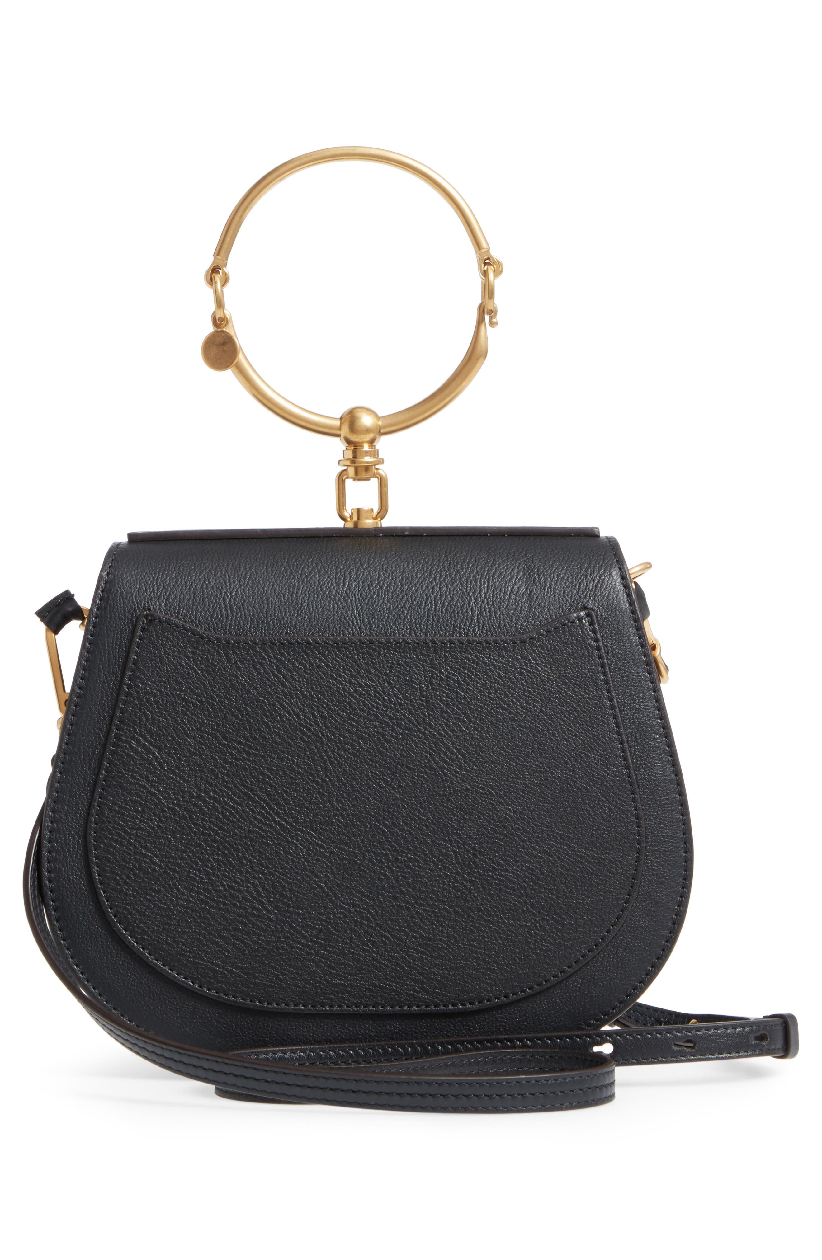 Medium Nile Leather Bracelet Saddle Bag,                             Alternate thumbnail 4, color,                             001NR001 BLACK