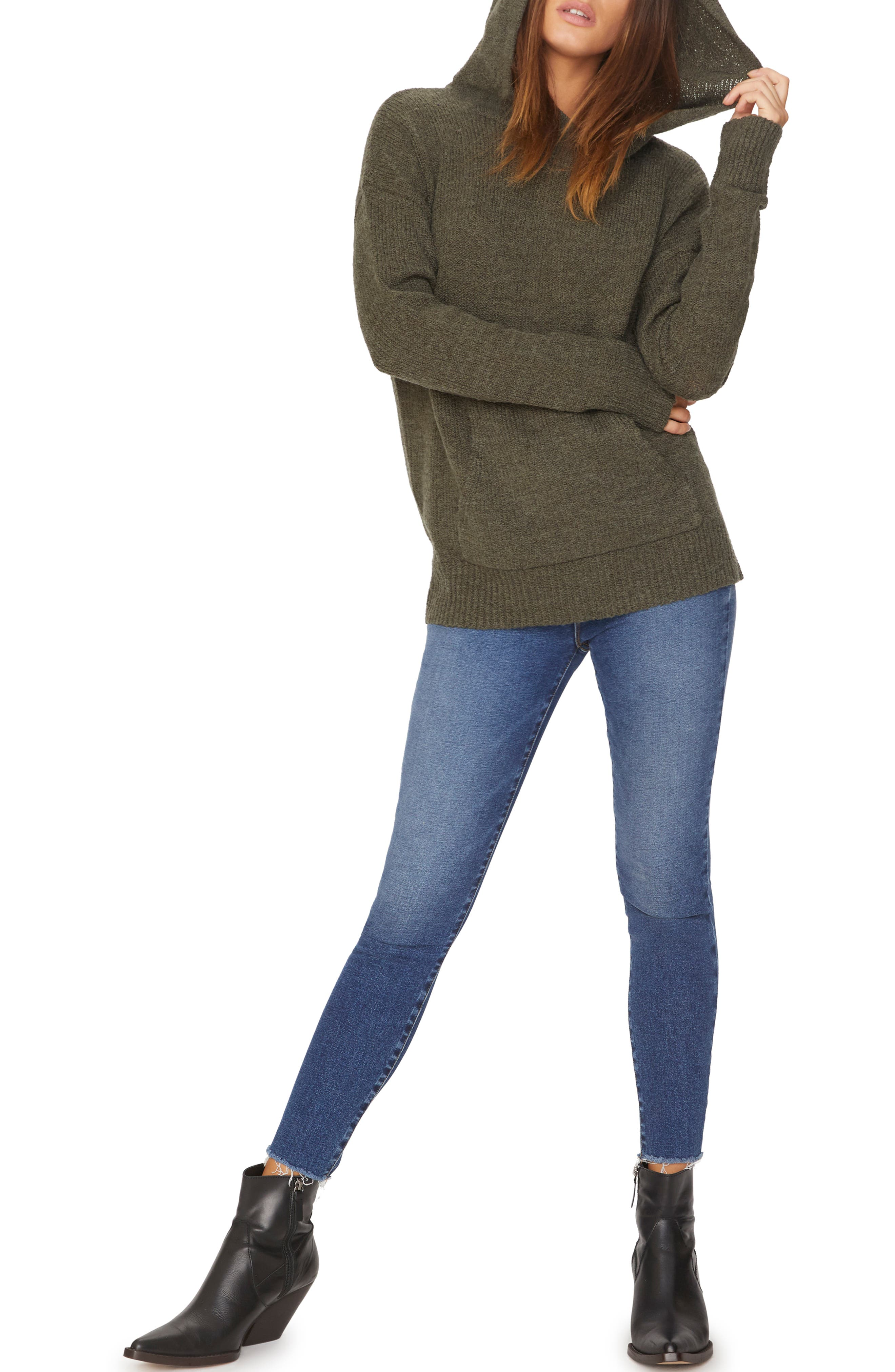 Sunday Morning Wool Blend Sweater Hoodie,                             Alternate thumbnail 5, color,                             HEATHER PROSPERITY GREEN