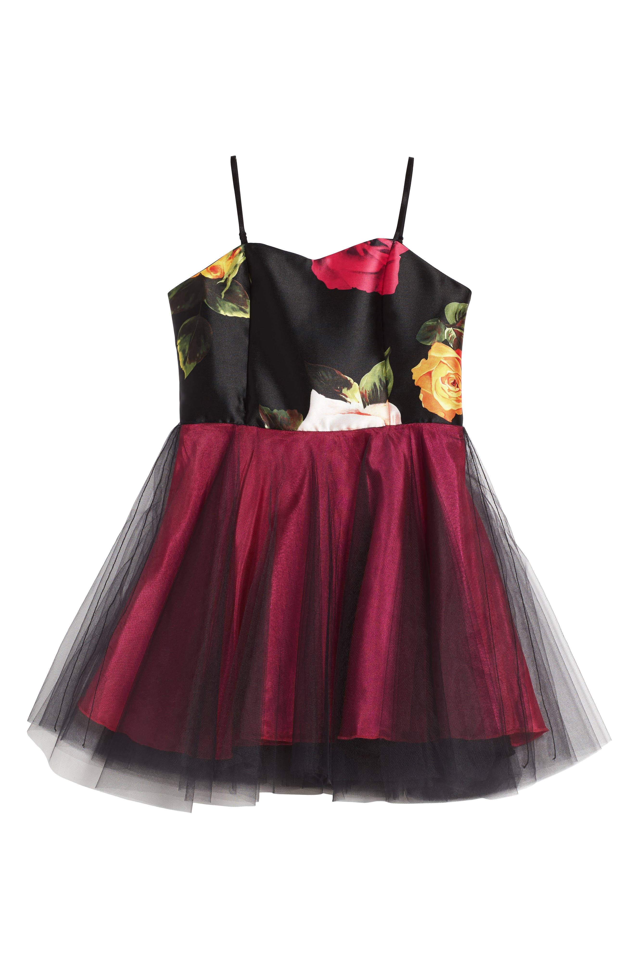 Floral Print Tulle Dress,                         Main,                         color, 002