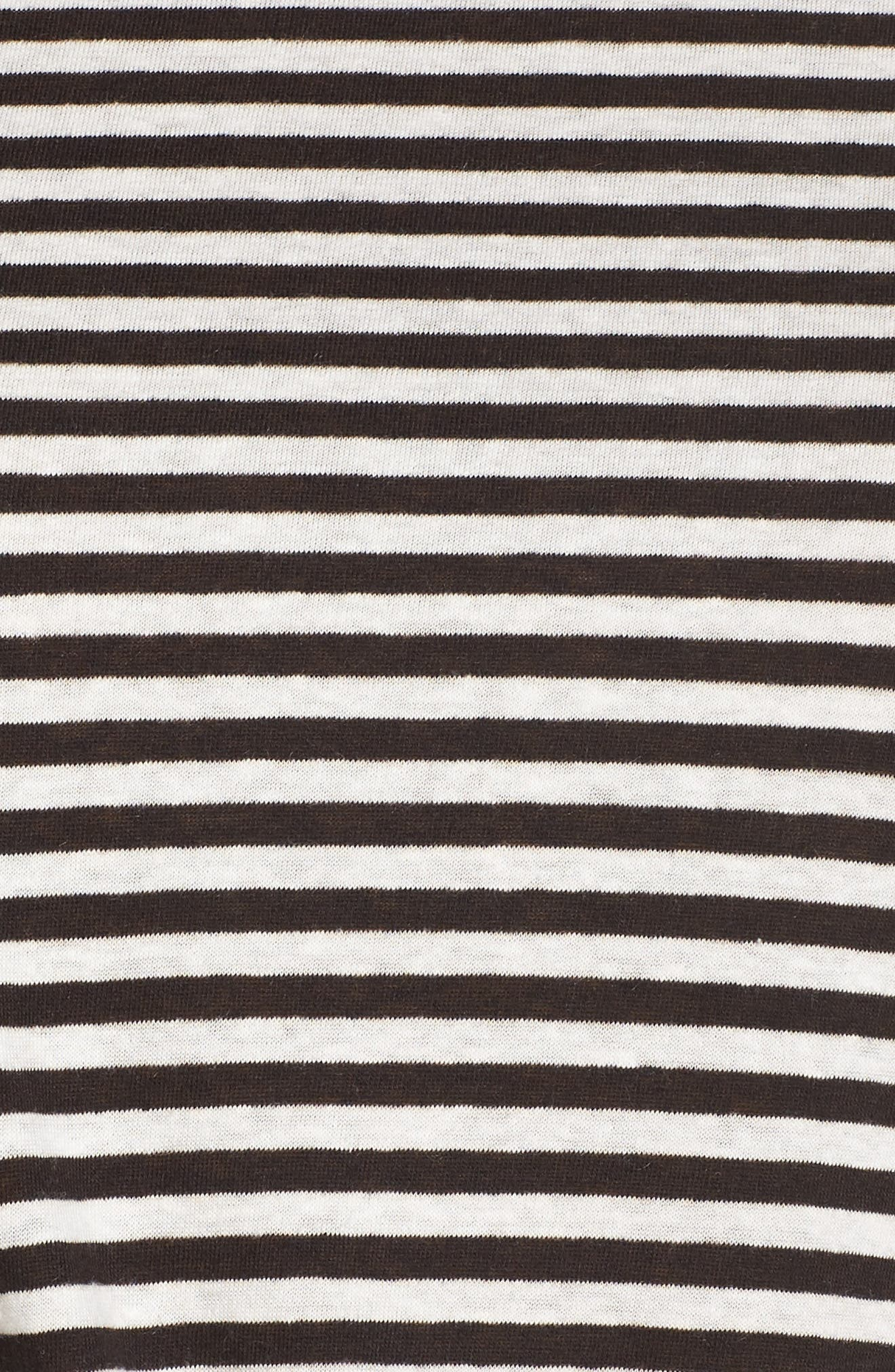 Knot Front Long Sleeve Tee,                             Alternate thumbnail 5, color,                             IVORY- BLACK EVEN STRIPE