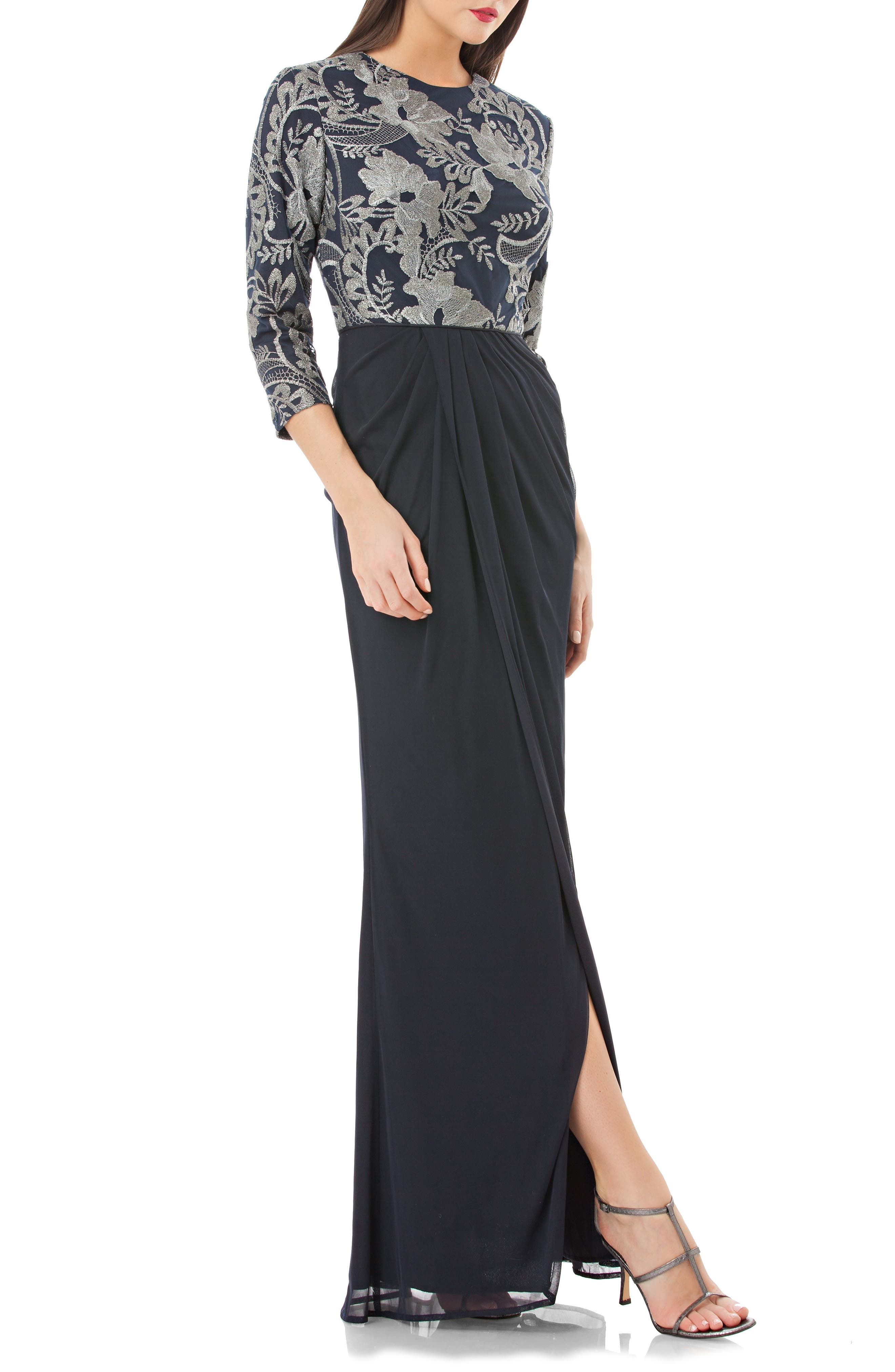 Metallic Embroidered Column Gown,                             Main thumbnail 1, color,                             417
