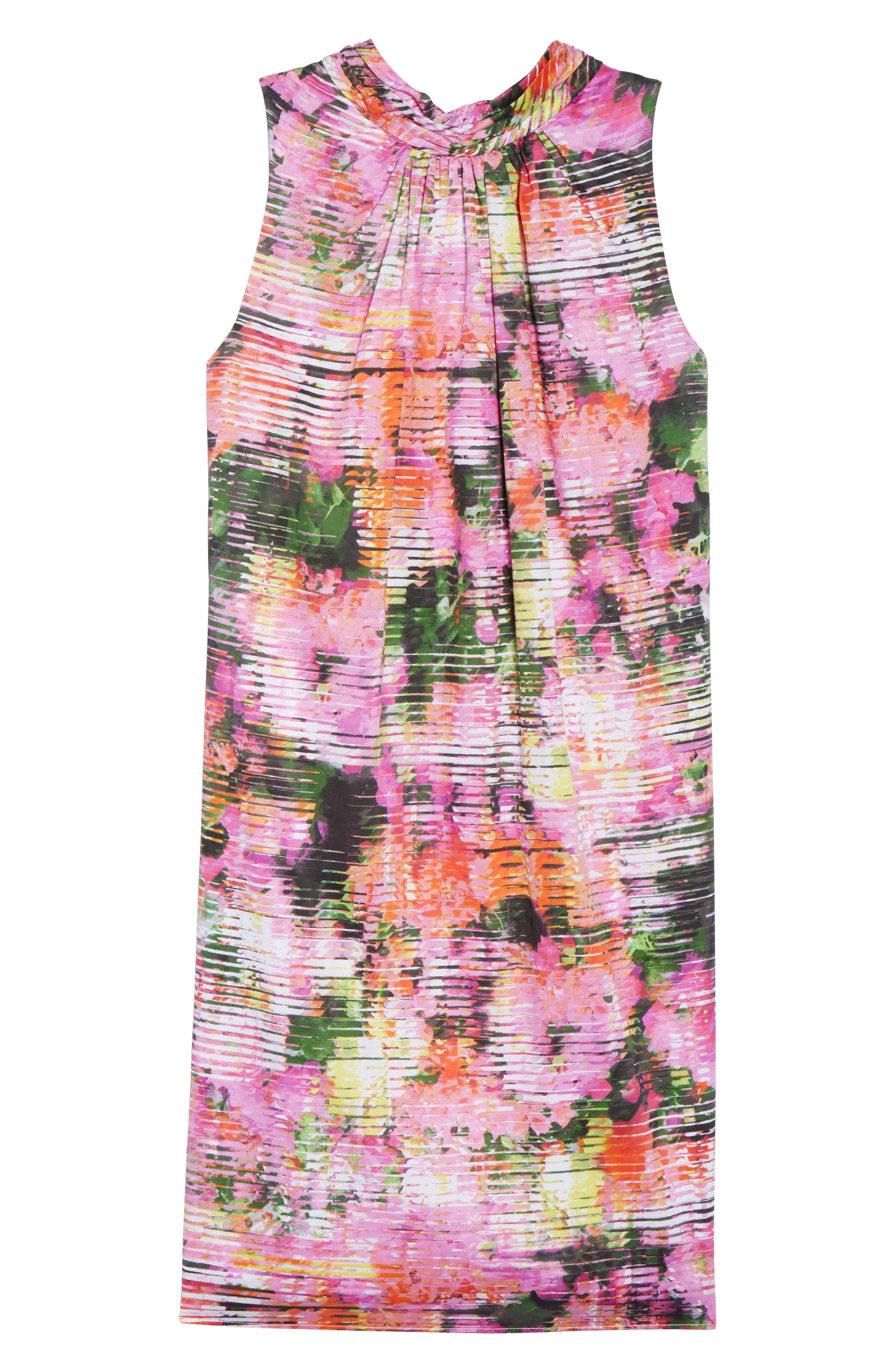 Back Bow Halter Dress,                             Alternate thumbnail 6, color,                             SOFT WHITE/ PINKS
