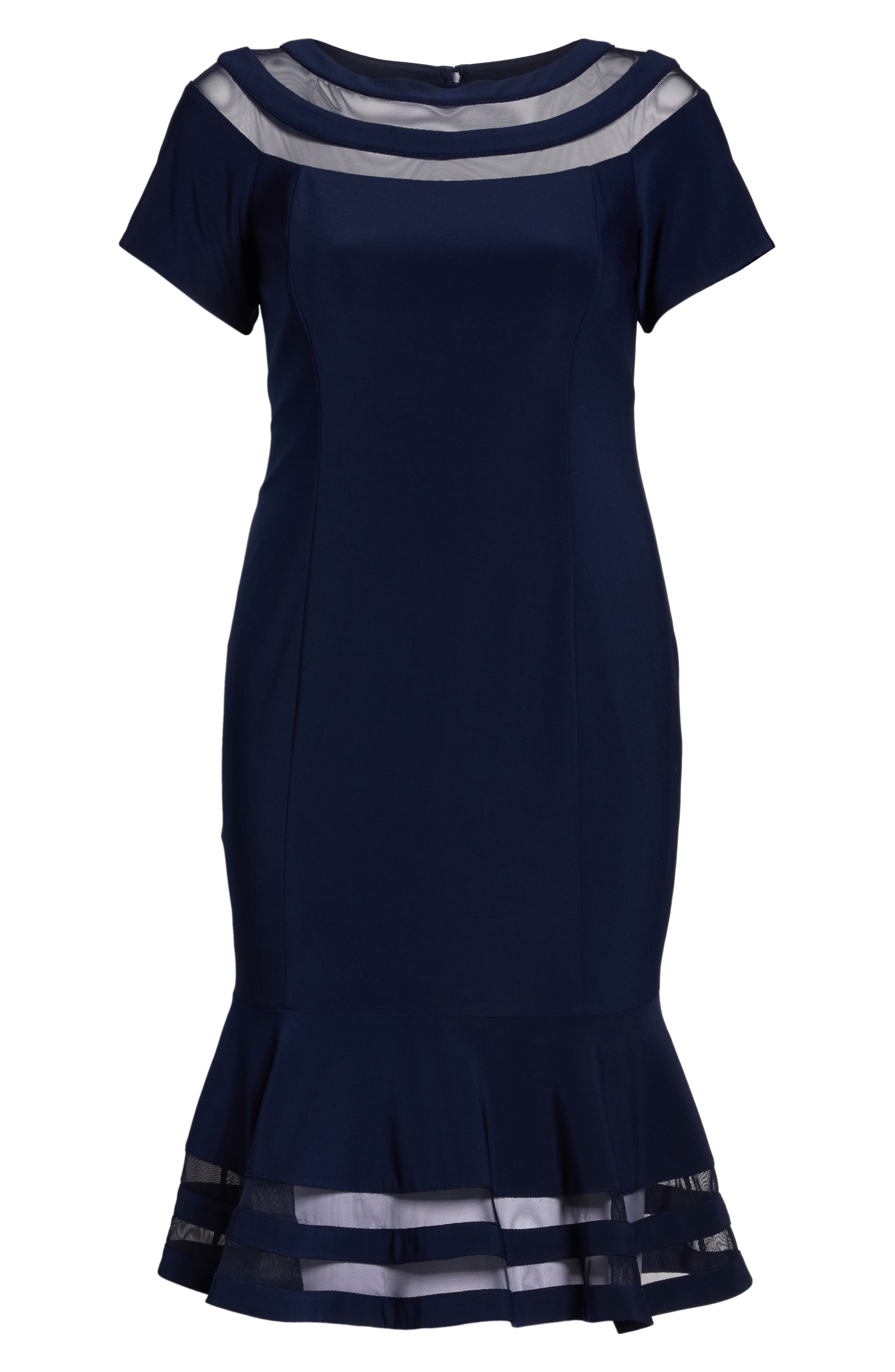 Shadow Stripe Flounce Hem Midi Dress,                             Alternate thumbnail 6, color,                             400