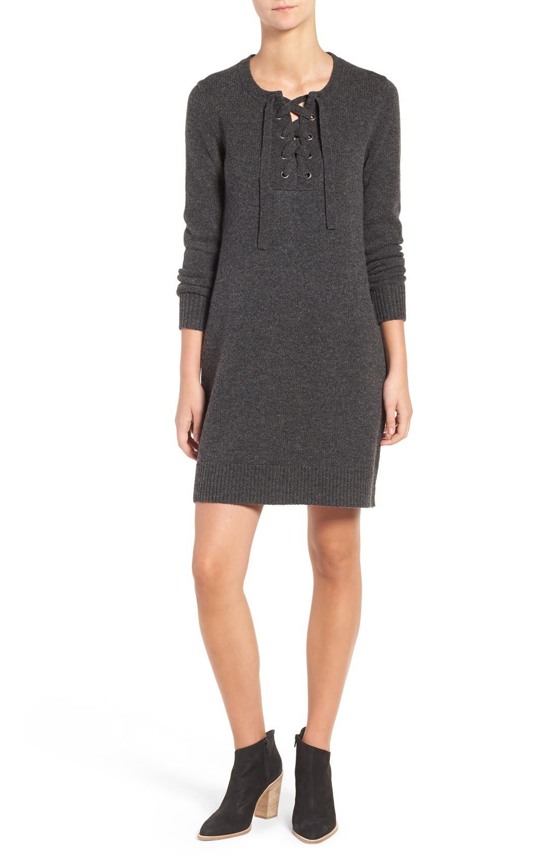 Lace-Up Merino Wool Sweater Dress,                             Main thumbnail 1, color,                             020