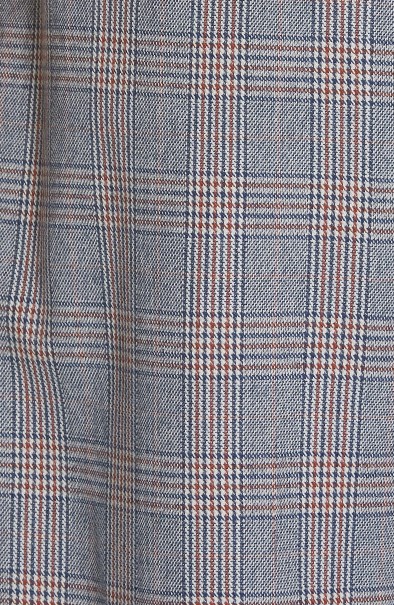 Marcelle Plaid Cotton & Wool Tie Waist Trousers,                             Alternate thumbnail 5, color,                             BLUE MULTI
