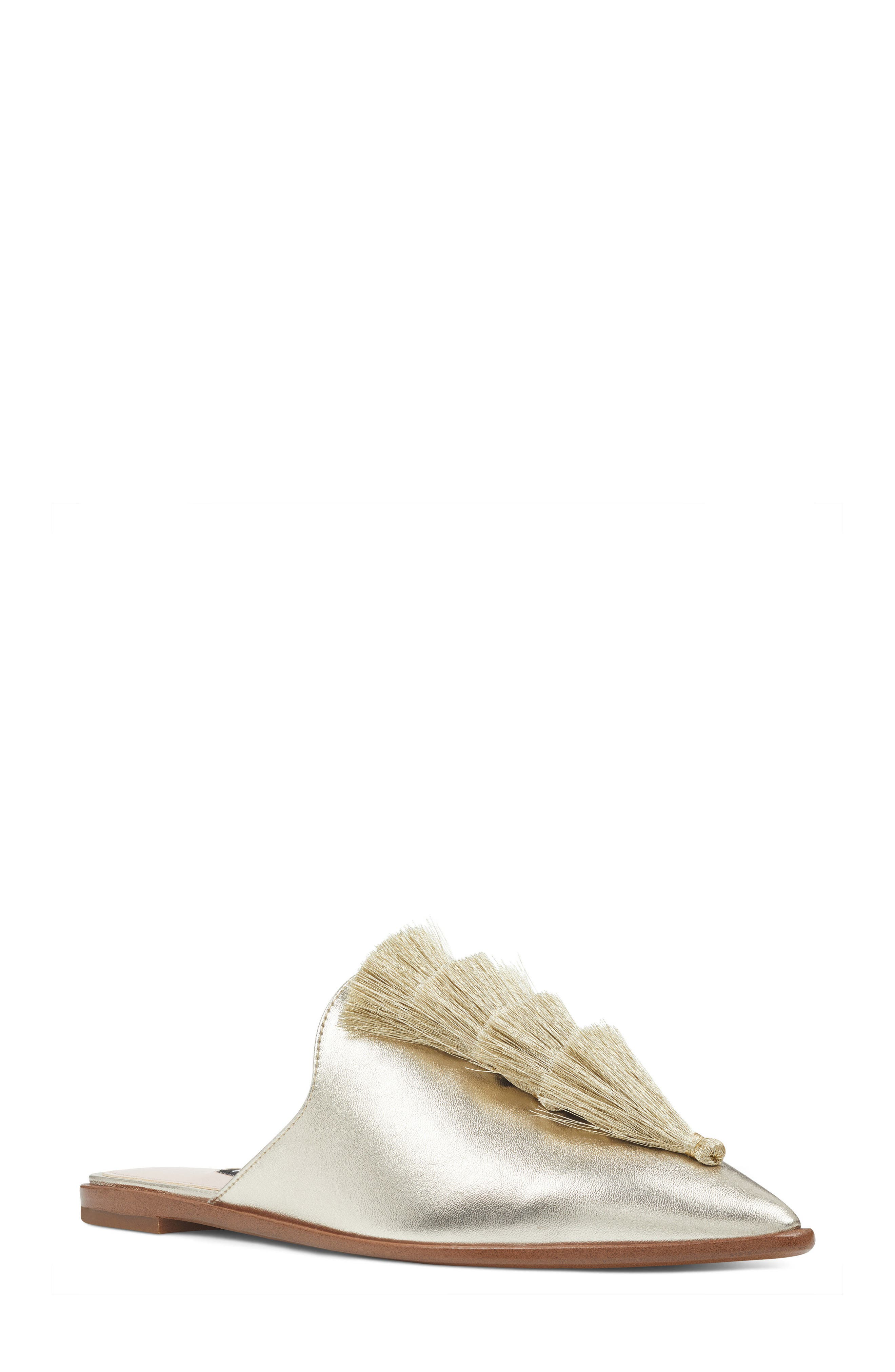 Ollial Fringed Loafer Mule,                             Main thumbnail 1, color,                             LIGHT GOLD LEATHER