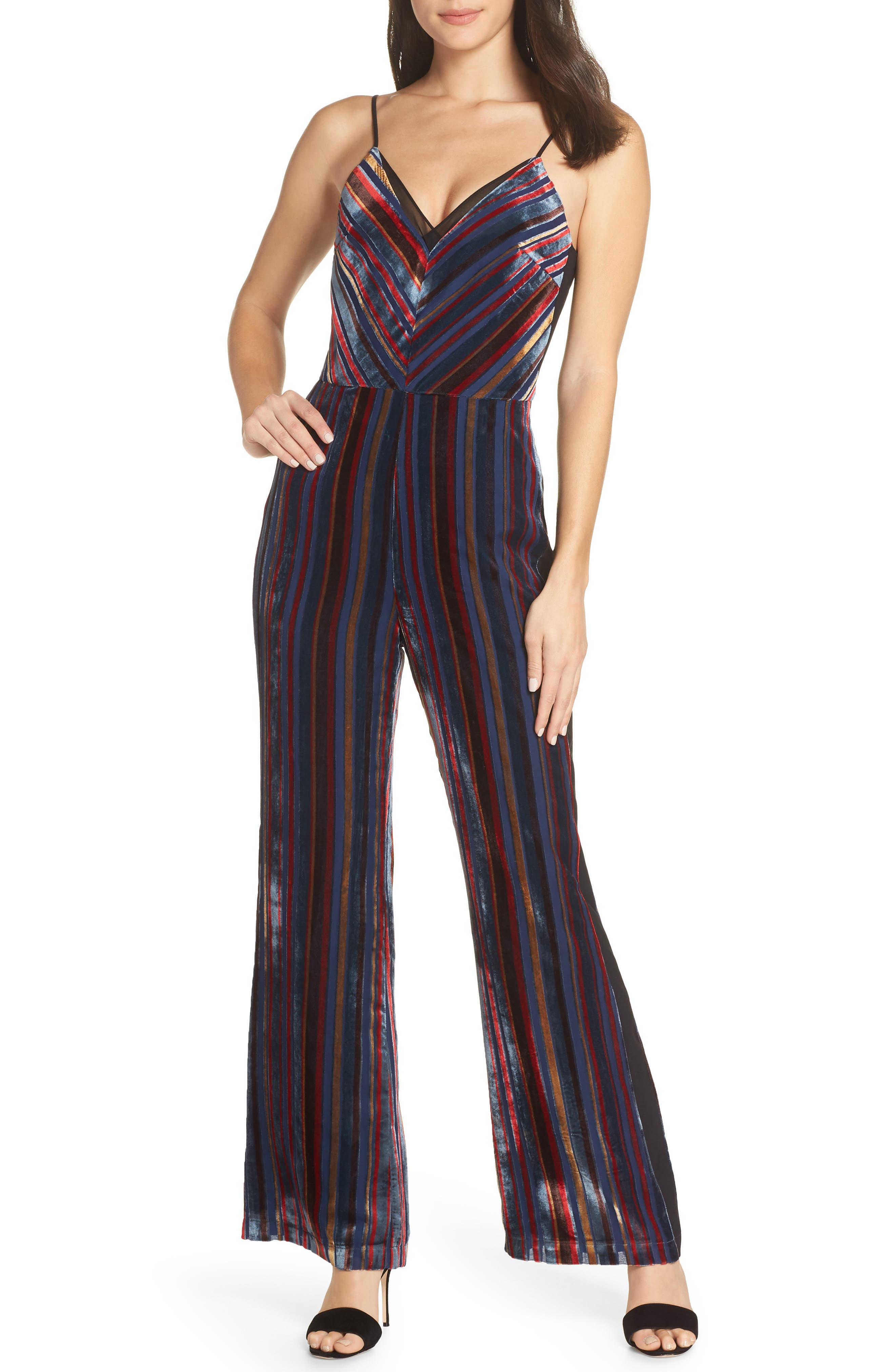 HARLYN Stripe Velvet Jumpsuit in Navy Multi