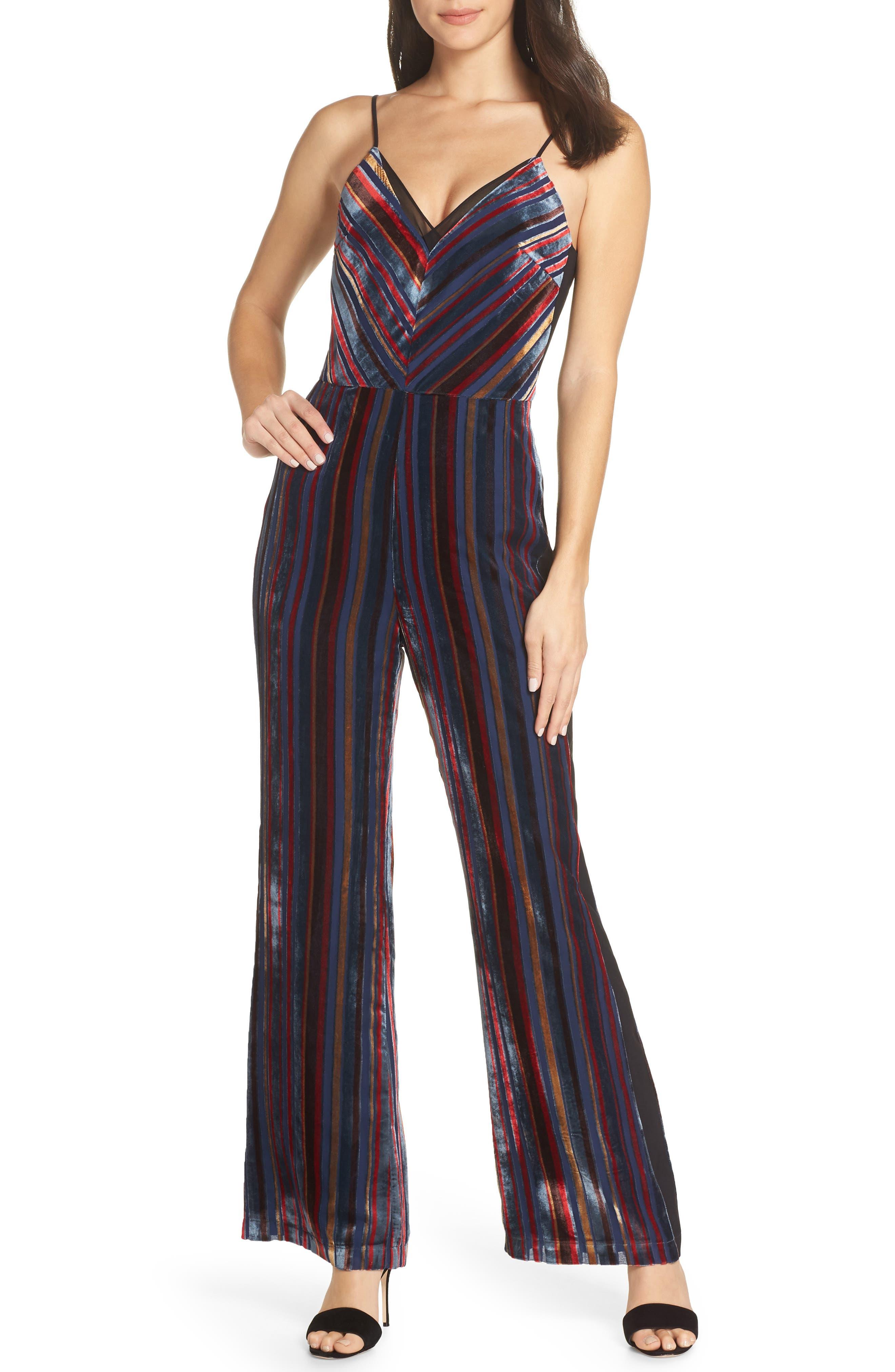Stripe Velvet Jumpsuit,                         Main,                         color, NAVY MULTI
