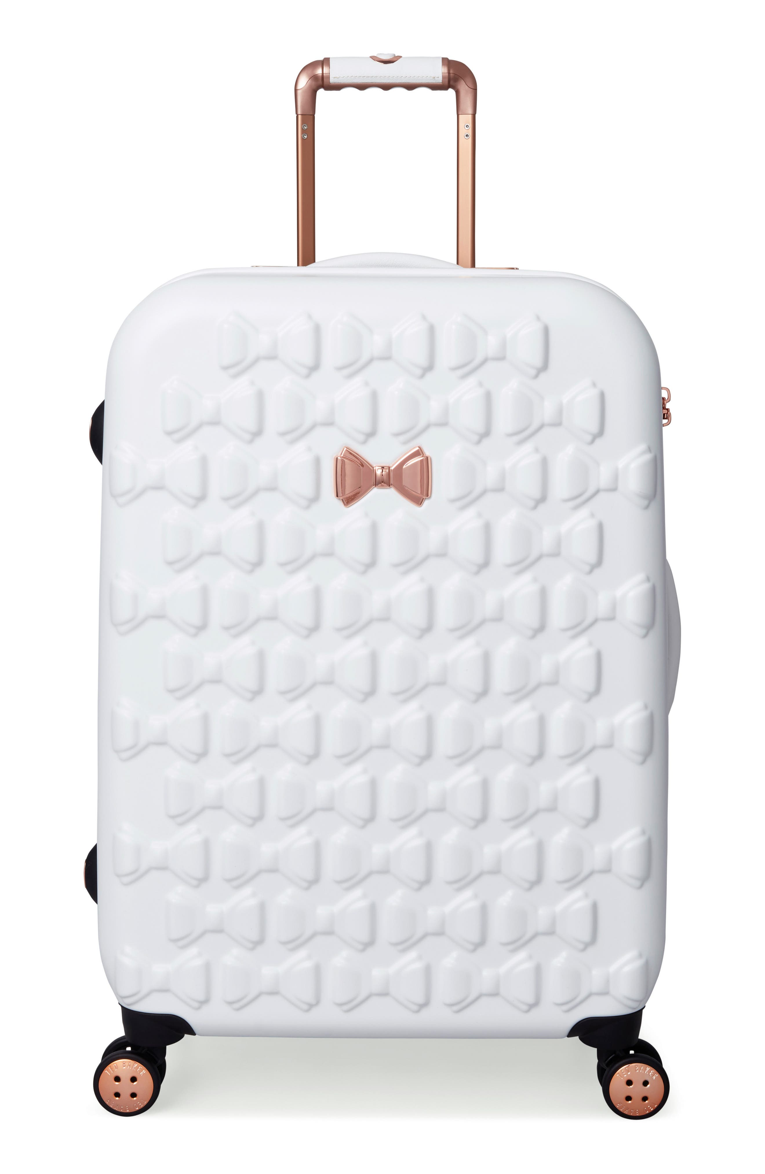 Medium Beau Bow Embossed Four-Wheel 27-Inch Trolley Suitcase,                             Main thumbnail 1, color,                             WHITE