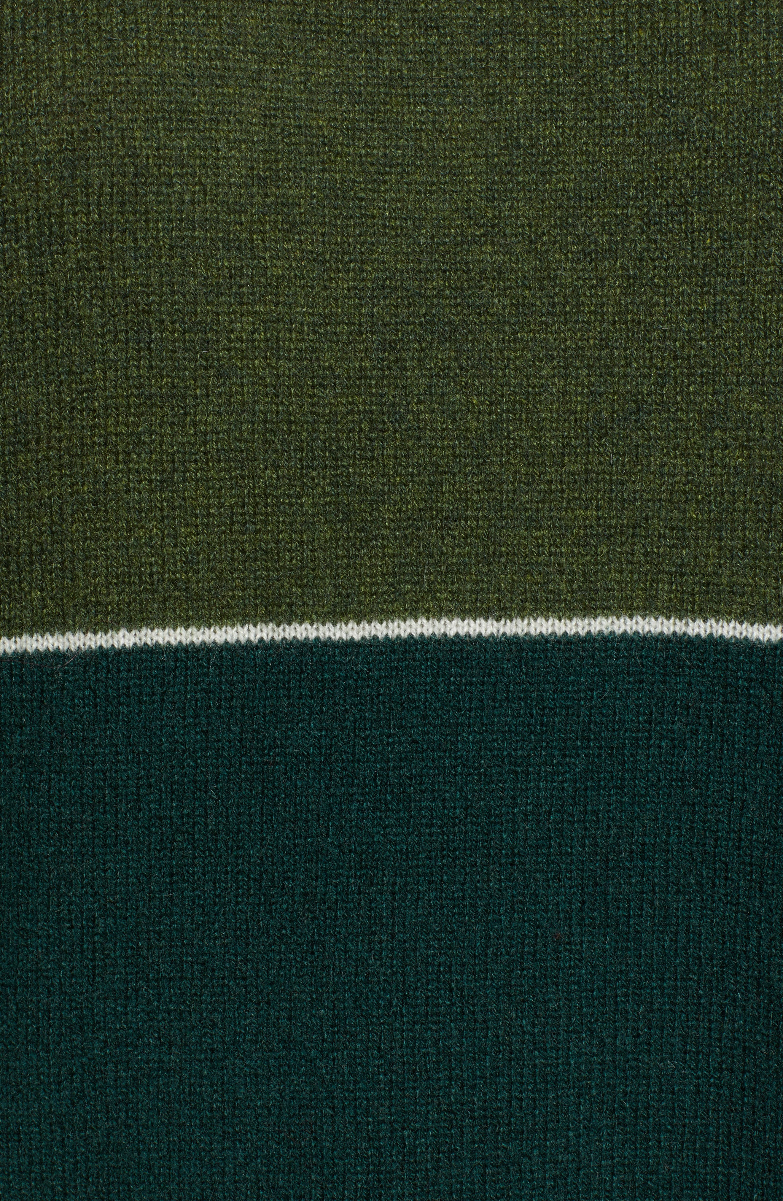 Cashmere Colorblock Sweater,                             Alternate thumbnail 5, color,                             FOREST/ ARMY
