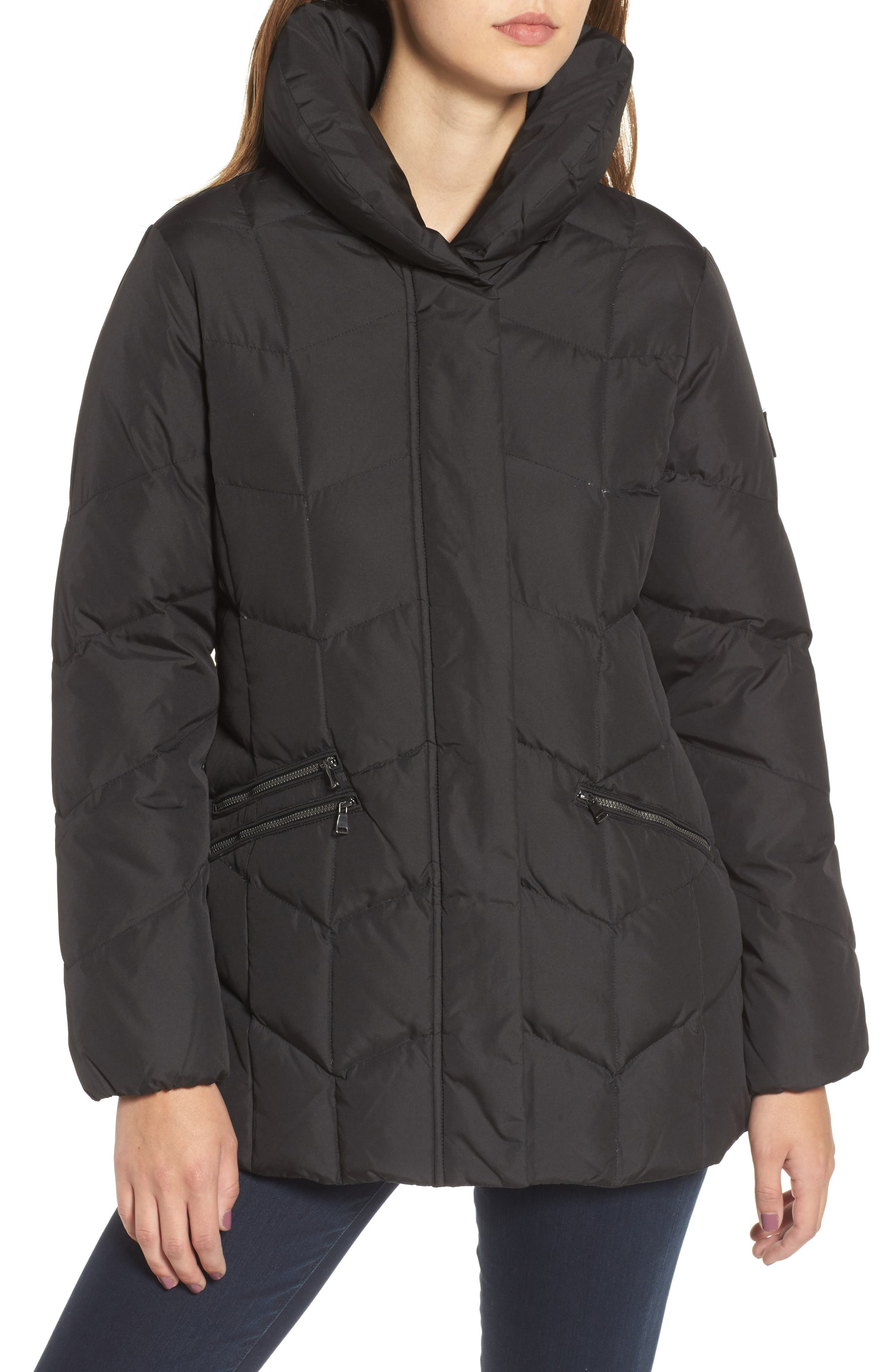 Quilted Coat with Faux Fur Trim,                             Alternate thumbnail 4, color,                             001