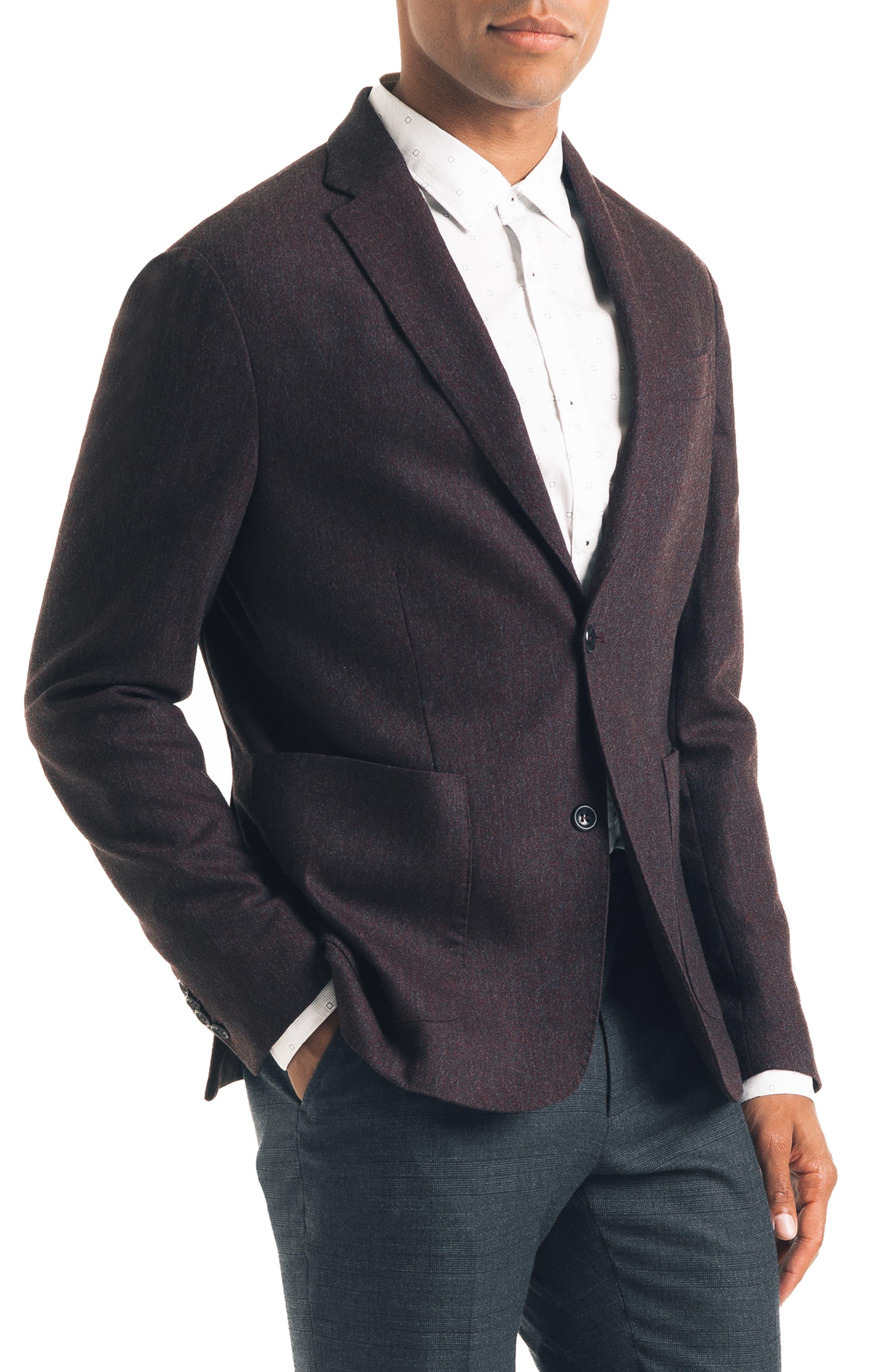 Downtown Trim Fit Stretch Wool Blend Sport Coat,                             Alternate thumbnail 3, color,                             BURGUNDY