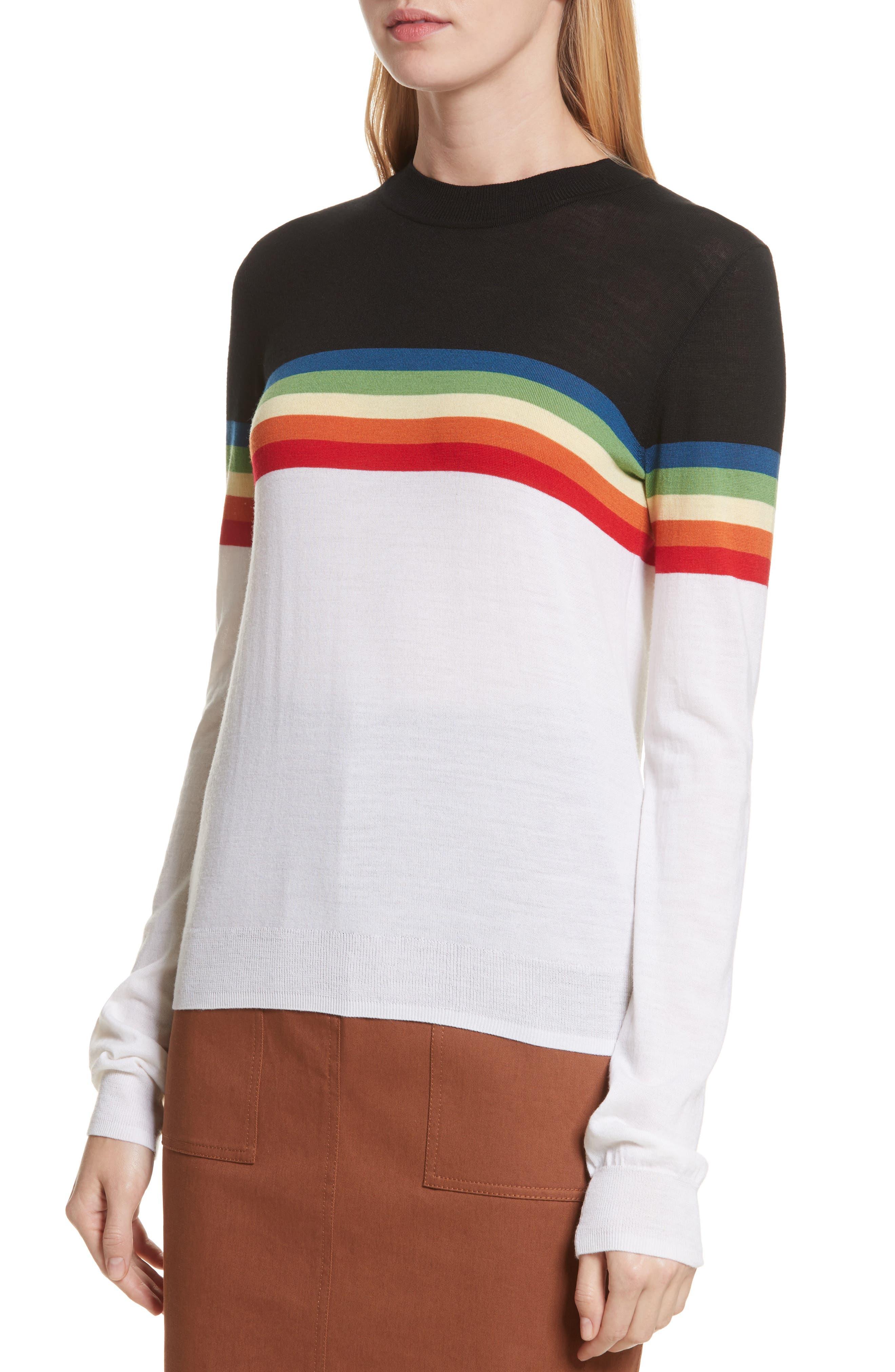 Diane von Furstenberg Rainbow Sweater,                             Alternate thumbnail 4, color,                             107