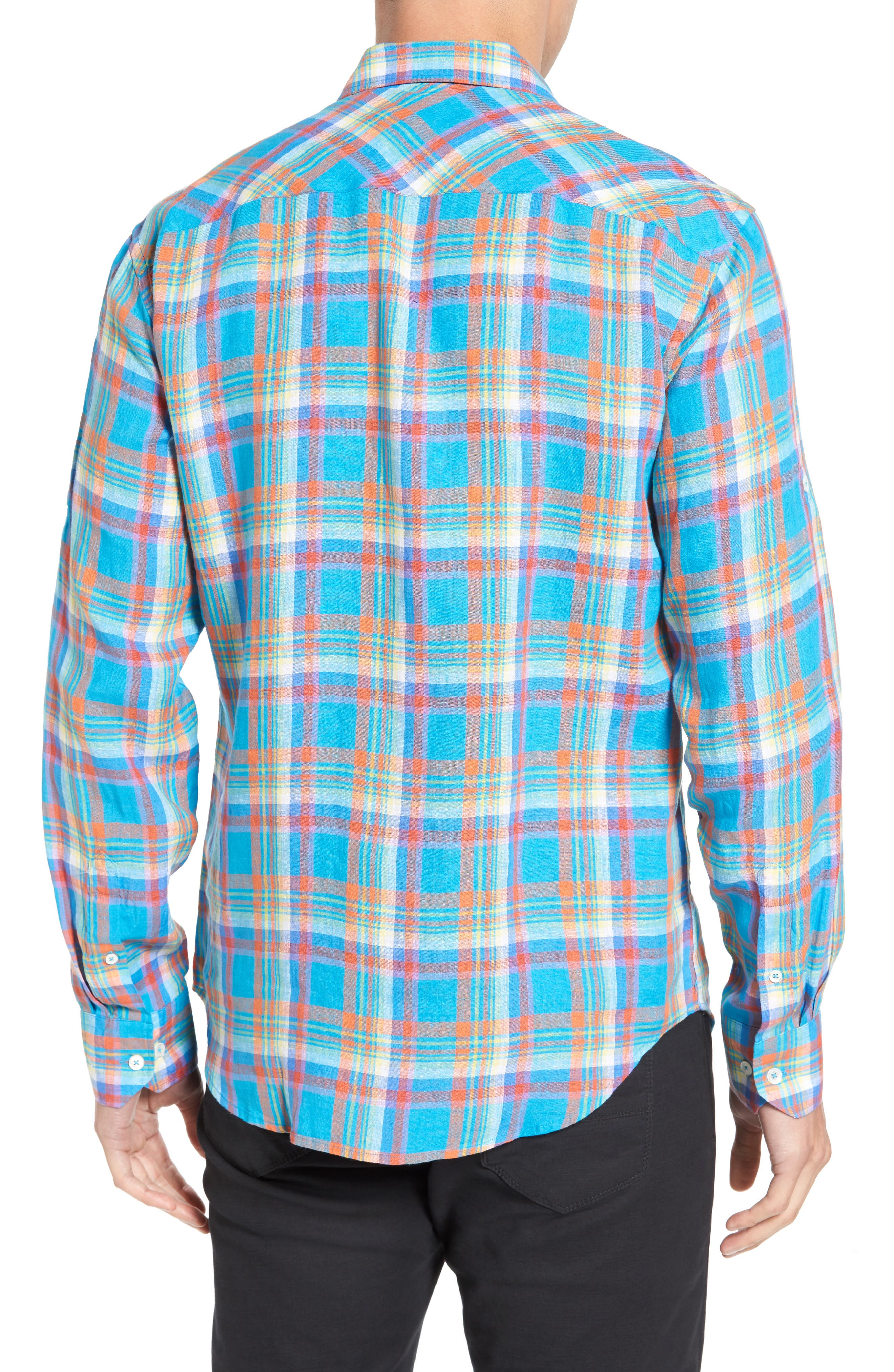 Shaped Fit Plaid Linen Sport Shirt,                             Alternate thumbnail 2, color,