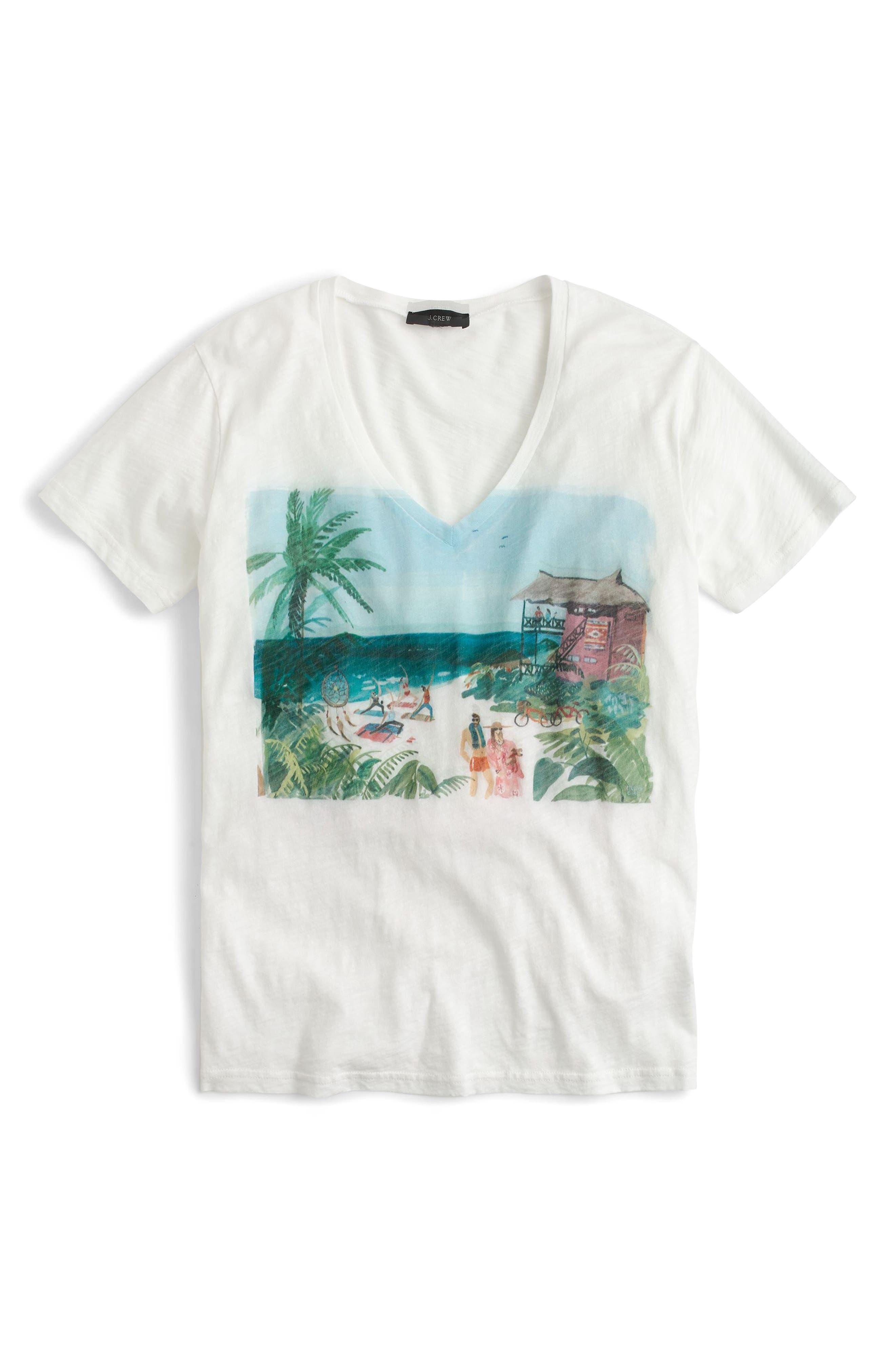 Beach Scene V-Neck Tee,                             Alternate thumbnail 2, color,                             900
