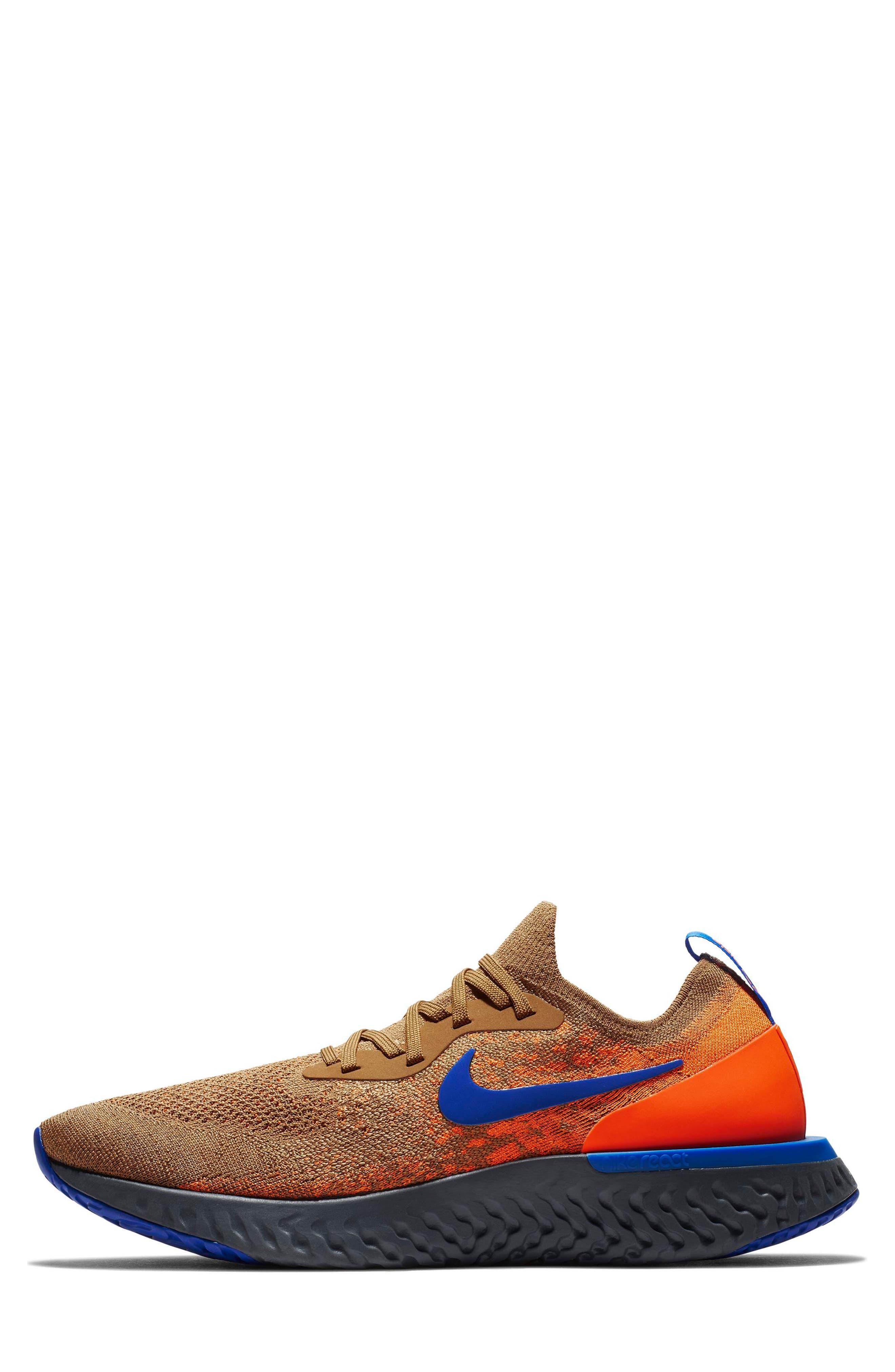 Epic React Flyknit Running Shoe,                             Alternate thumbnail 7, color,                             GOLDEN BEIGE/ BLUE/ ORANGE