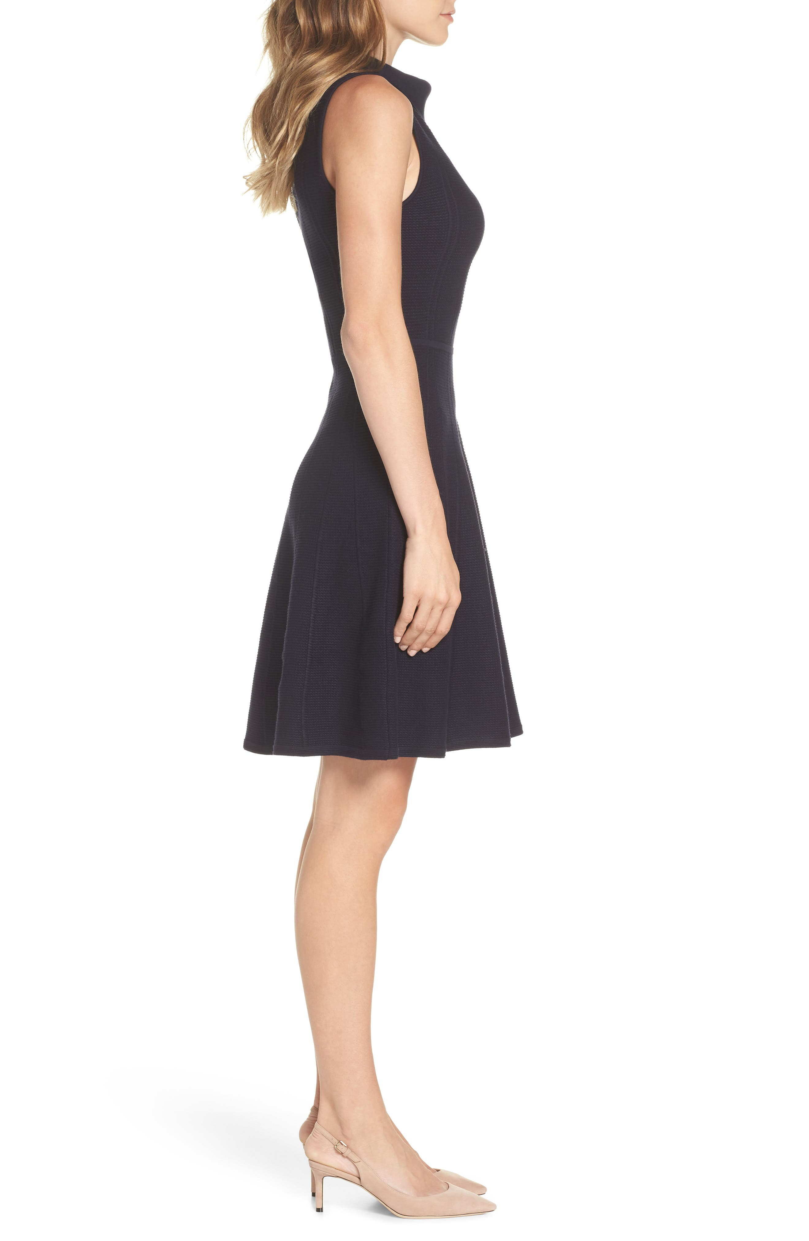 Mock Neck Fit & Flare Sweater Dress,                             Alternate thumbnail 3, color,                             410
