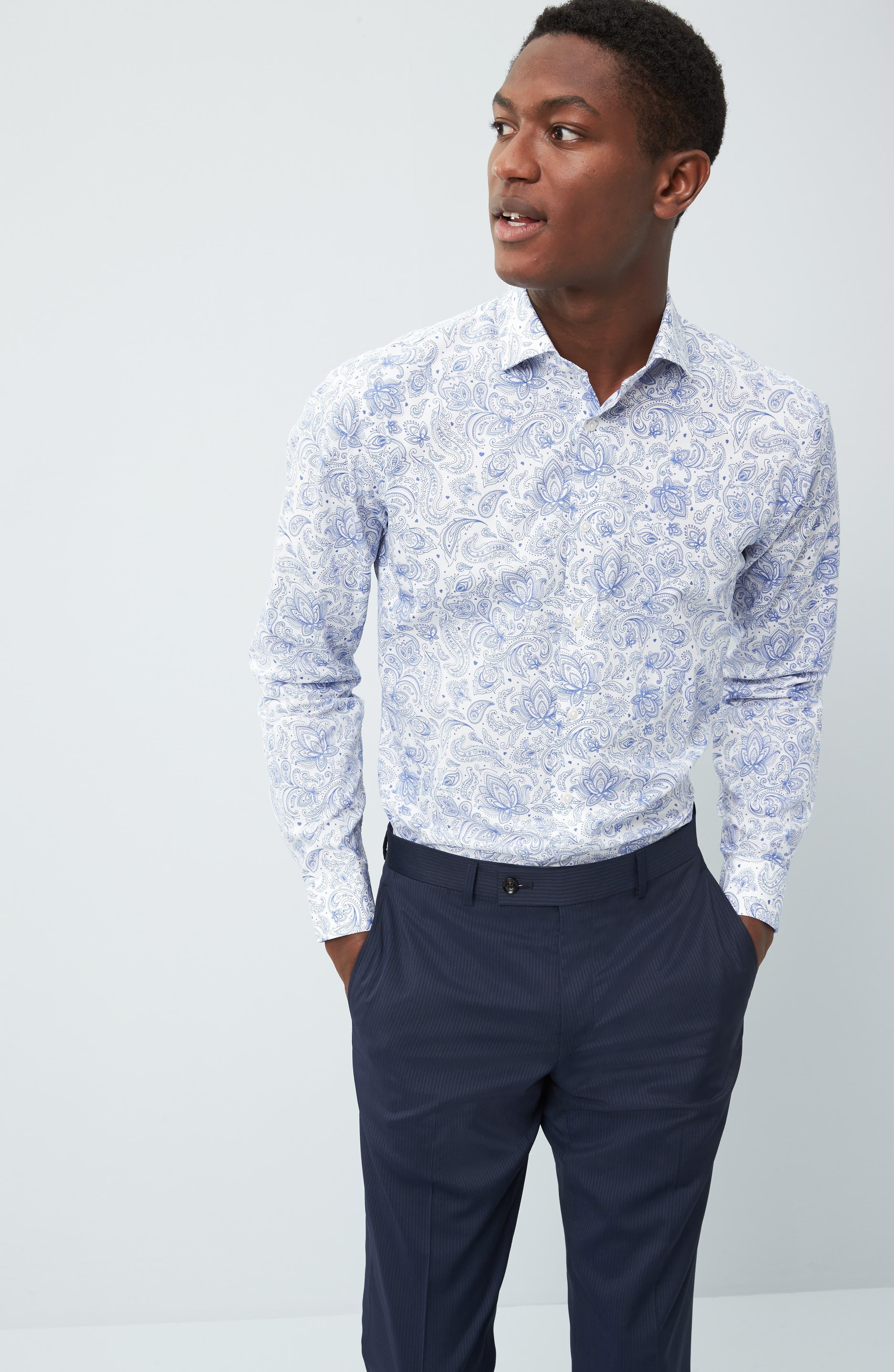 Trim Fit Paisley Dress Shirt,                             Alternate thumbnail 3, color,                             420