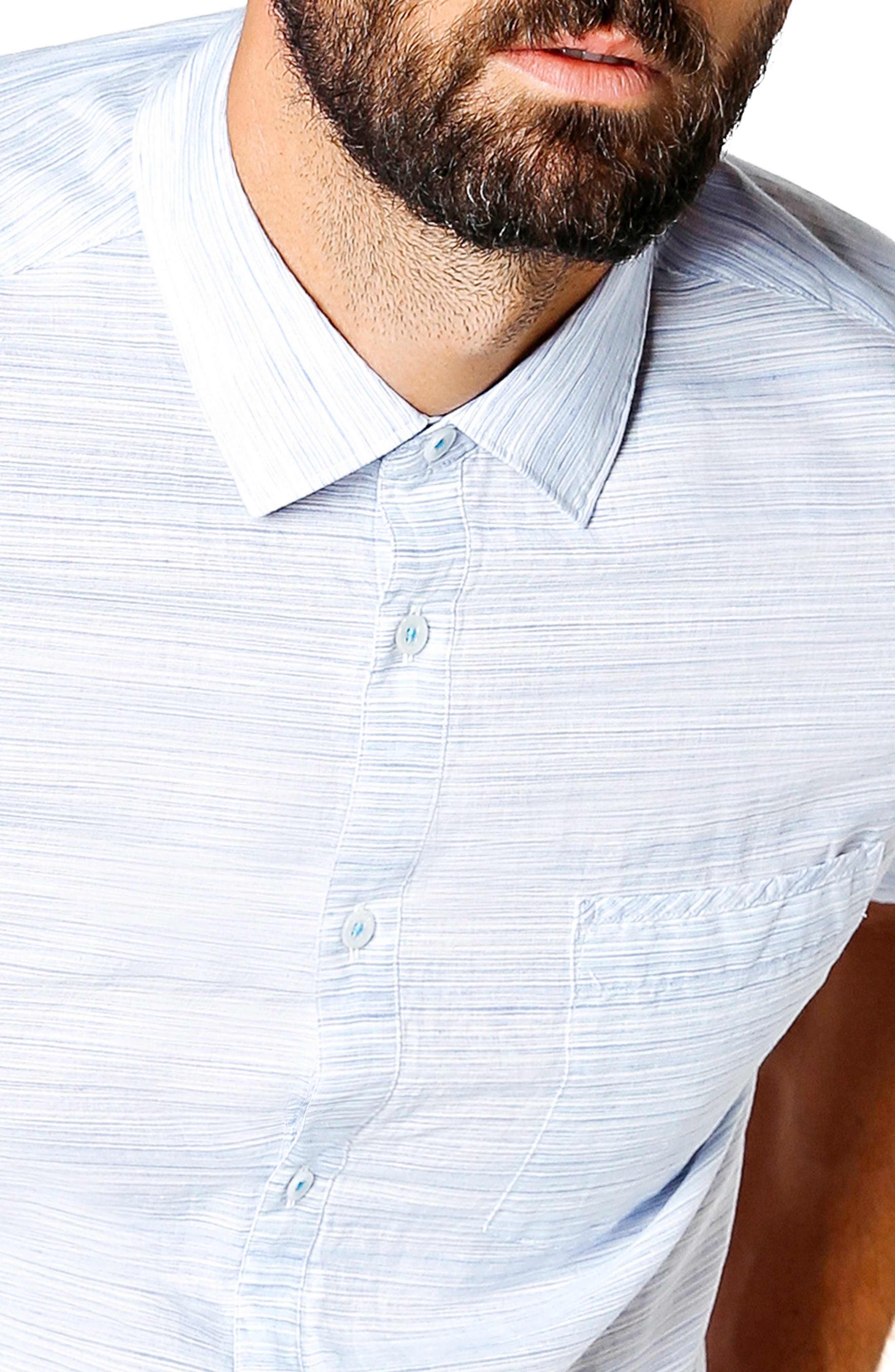 Slim Fit Stripe Short Sleeve Sport Shirt,                             Alternate thumbnail 4, color,                             BLUE
