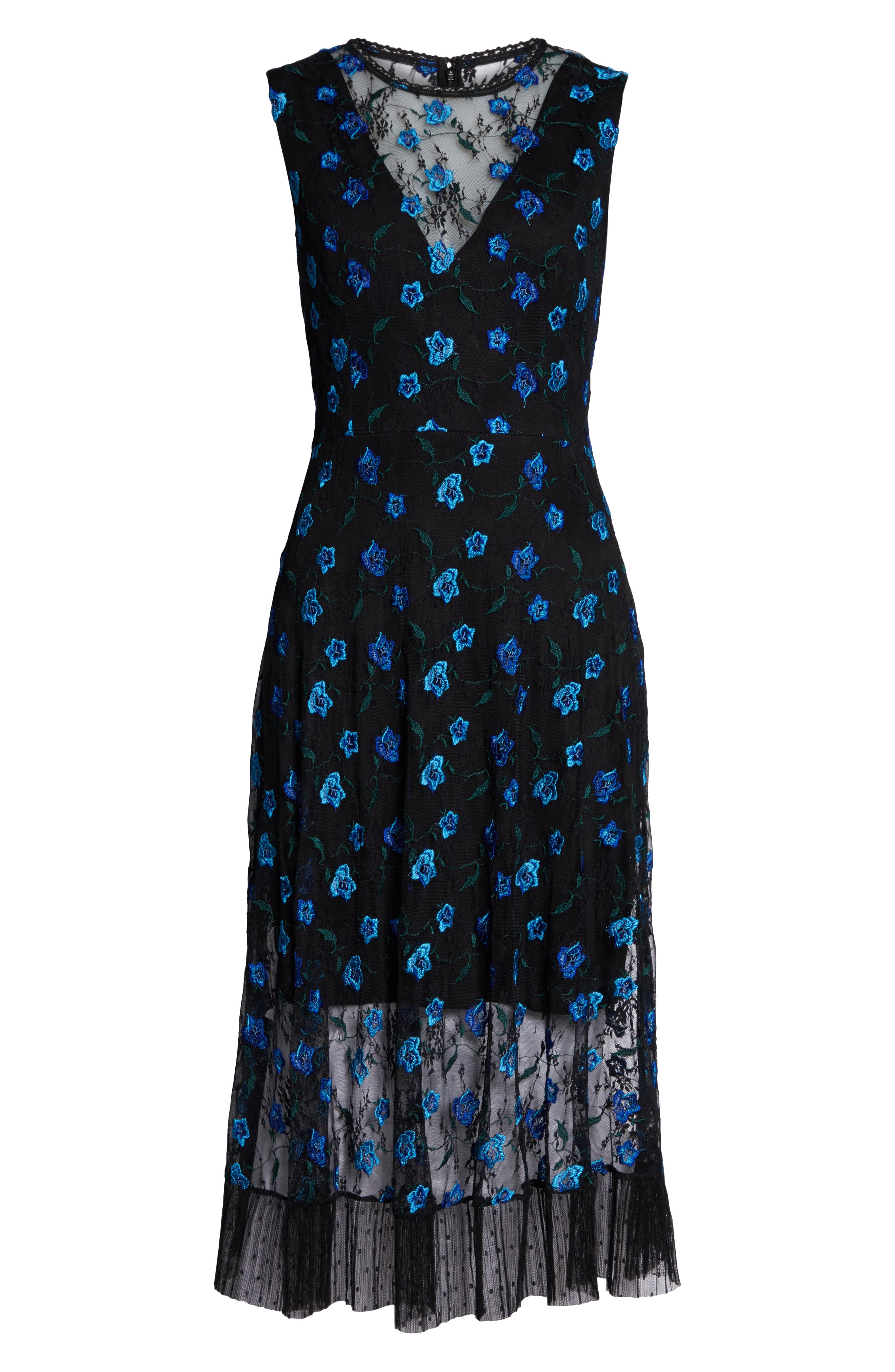DRESS THE POPULATION,                             Robyn Embroidered Lace Cocktail Dress,                             Alternate thumbnail 5, color,                             BLACK/ BLUE/ GREEN