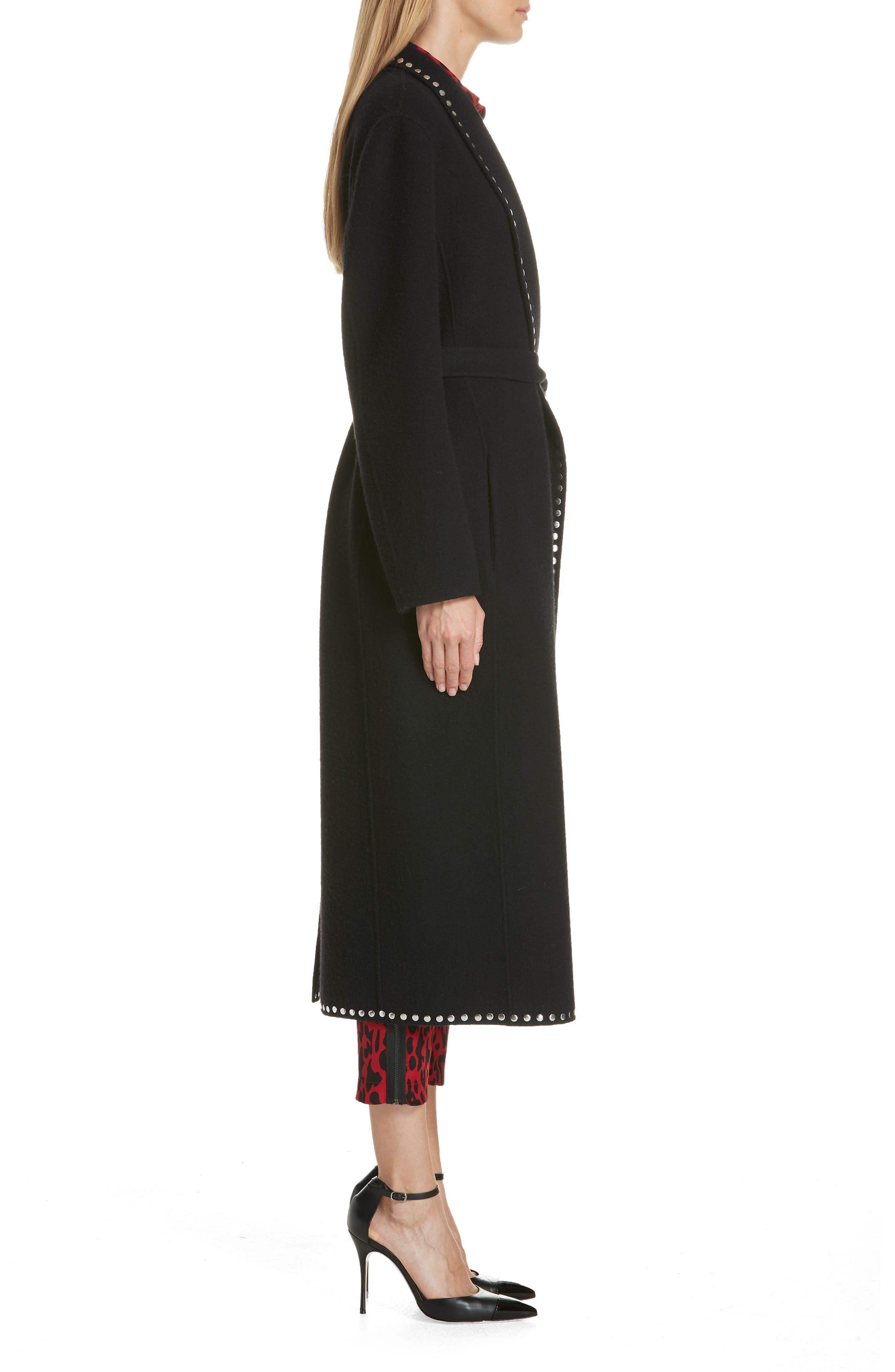 Studded Wool Blend Coat,                             Alternate thumbnail 3, color,                             BLACK