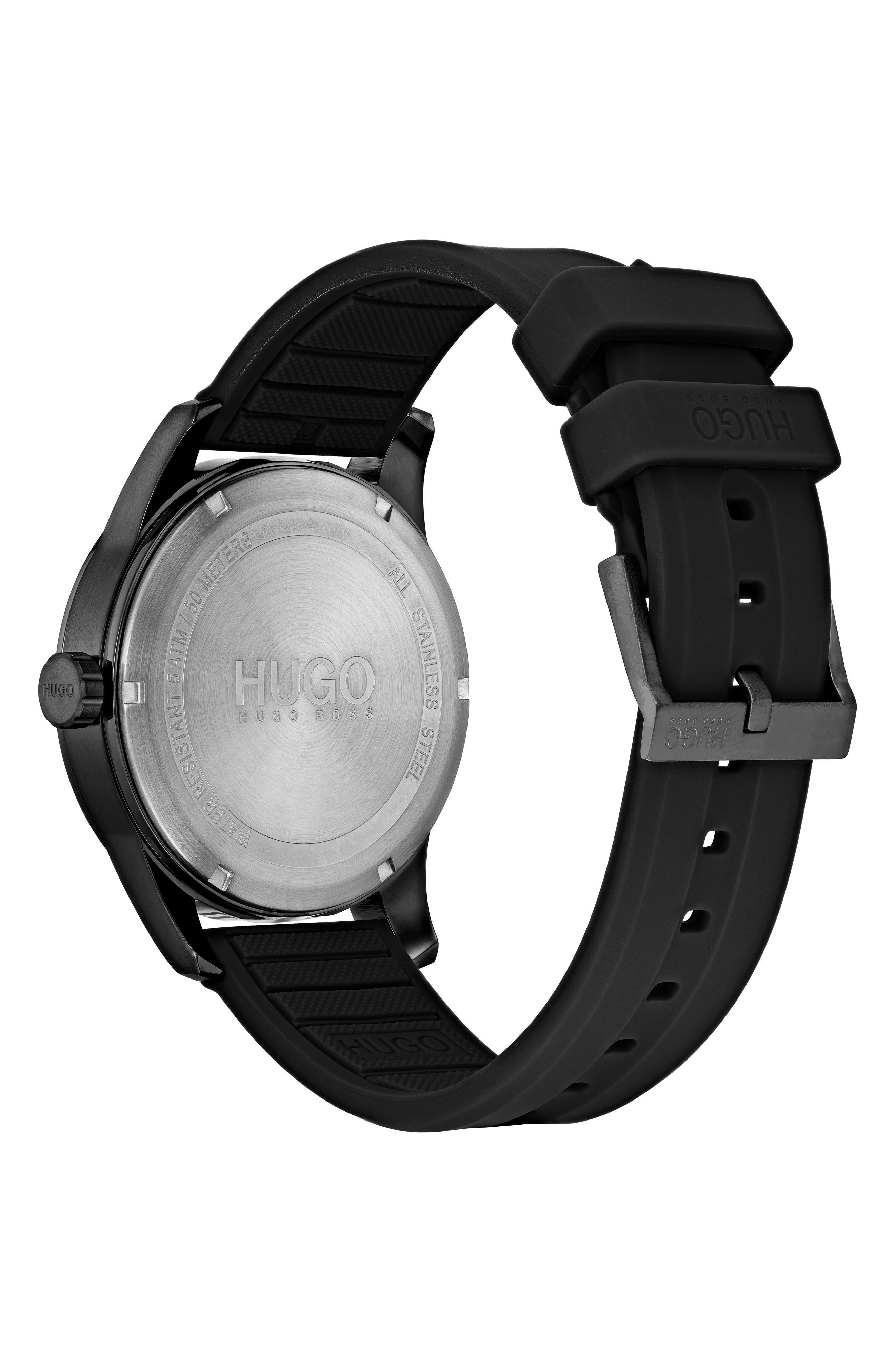 Automatic Silicone Strap Watch, 40mm,                             Alternate thumbnail 2, color,                             BLACK