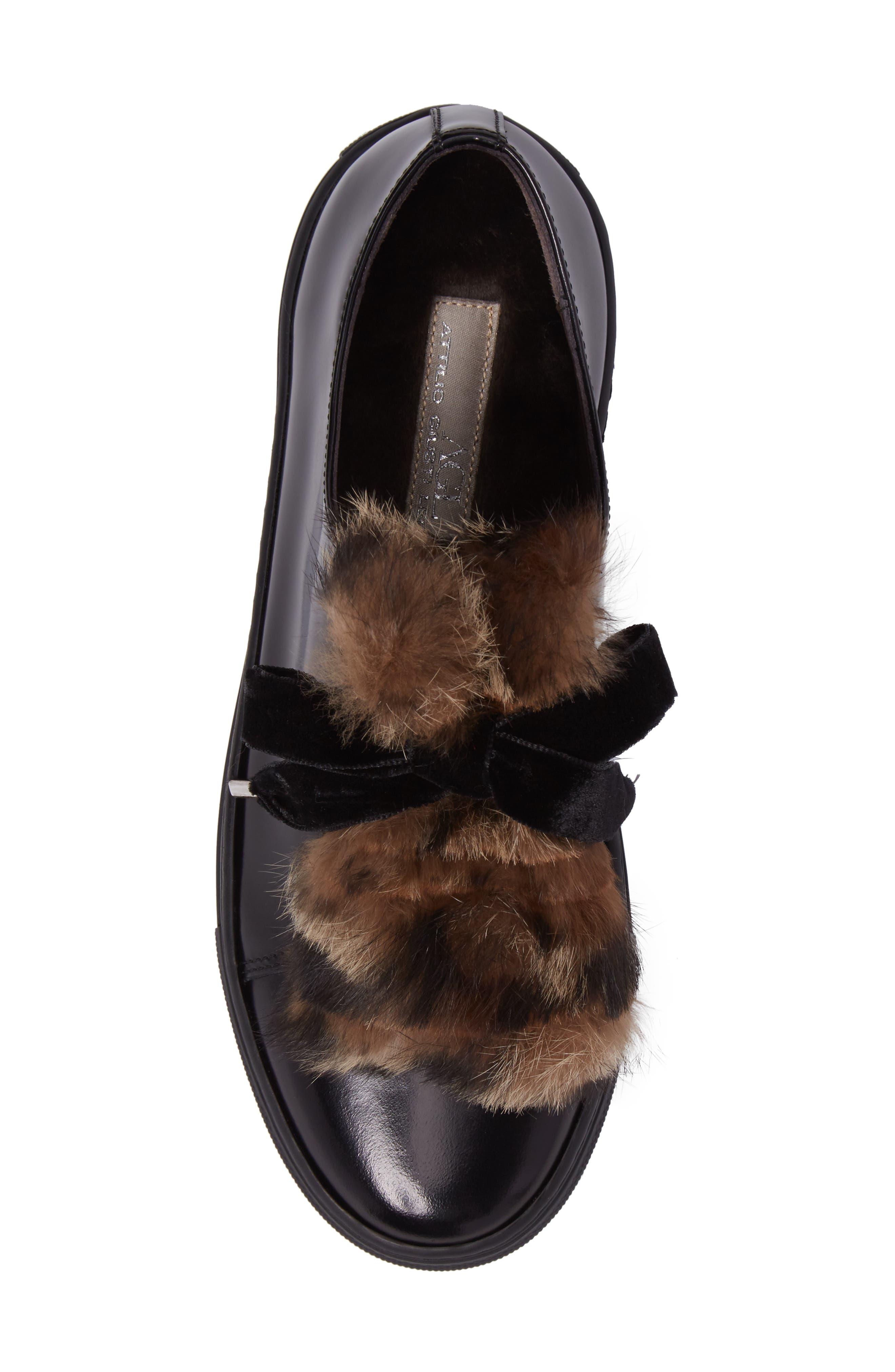 Fluff Genuine Rabbit Fur Sneaker,                             Alternate thumbnail 5, color,                             001