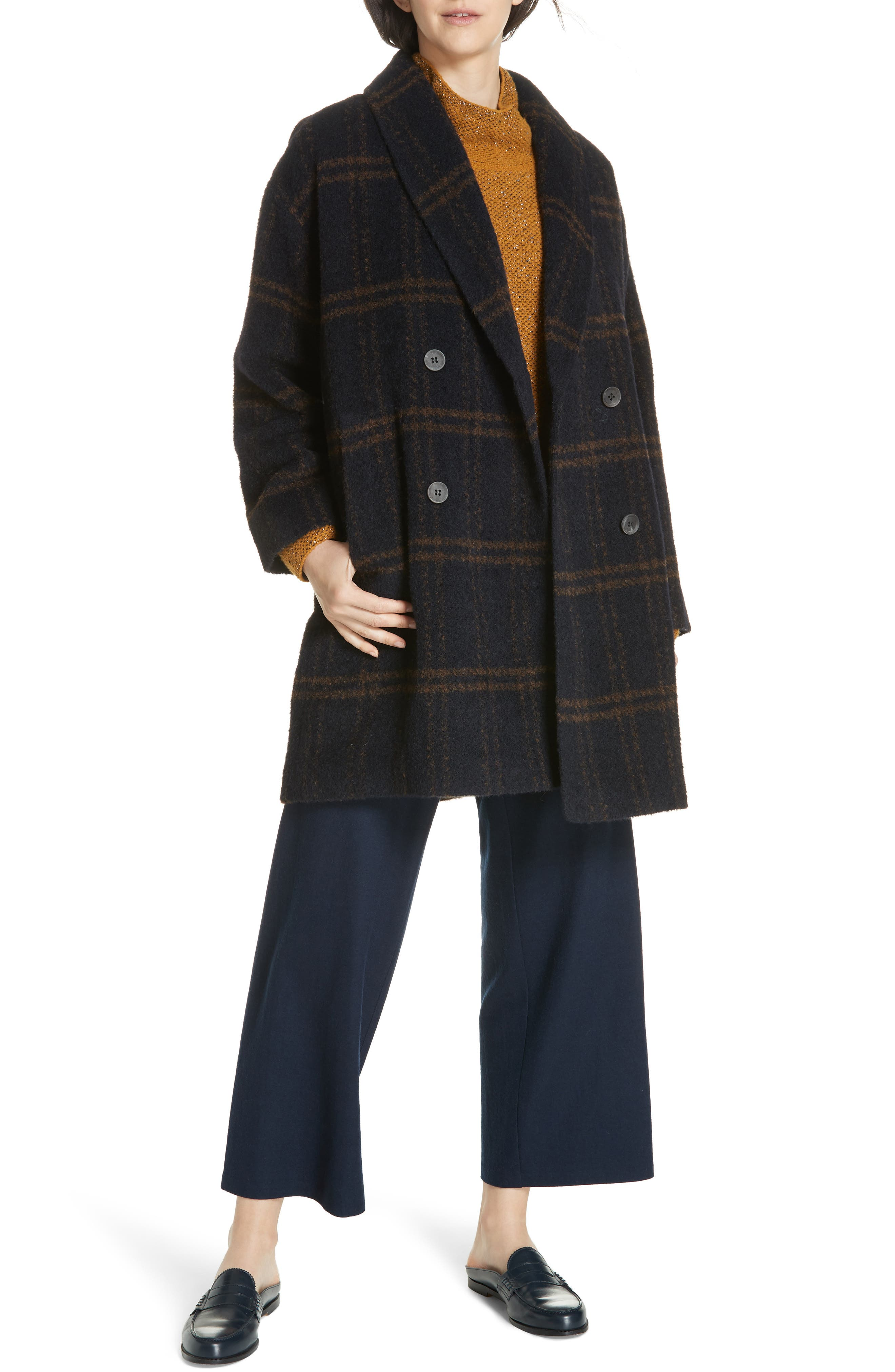 Double Breasted Plaid Alpaca Blend Coat,                             Alternate thumbnail 7, color,                             MIDNIGHT