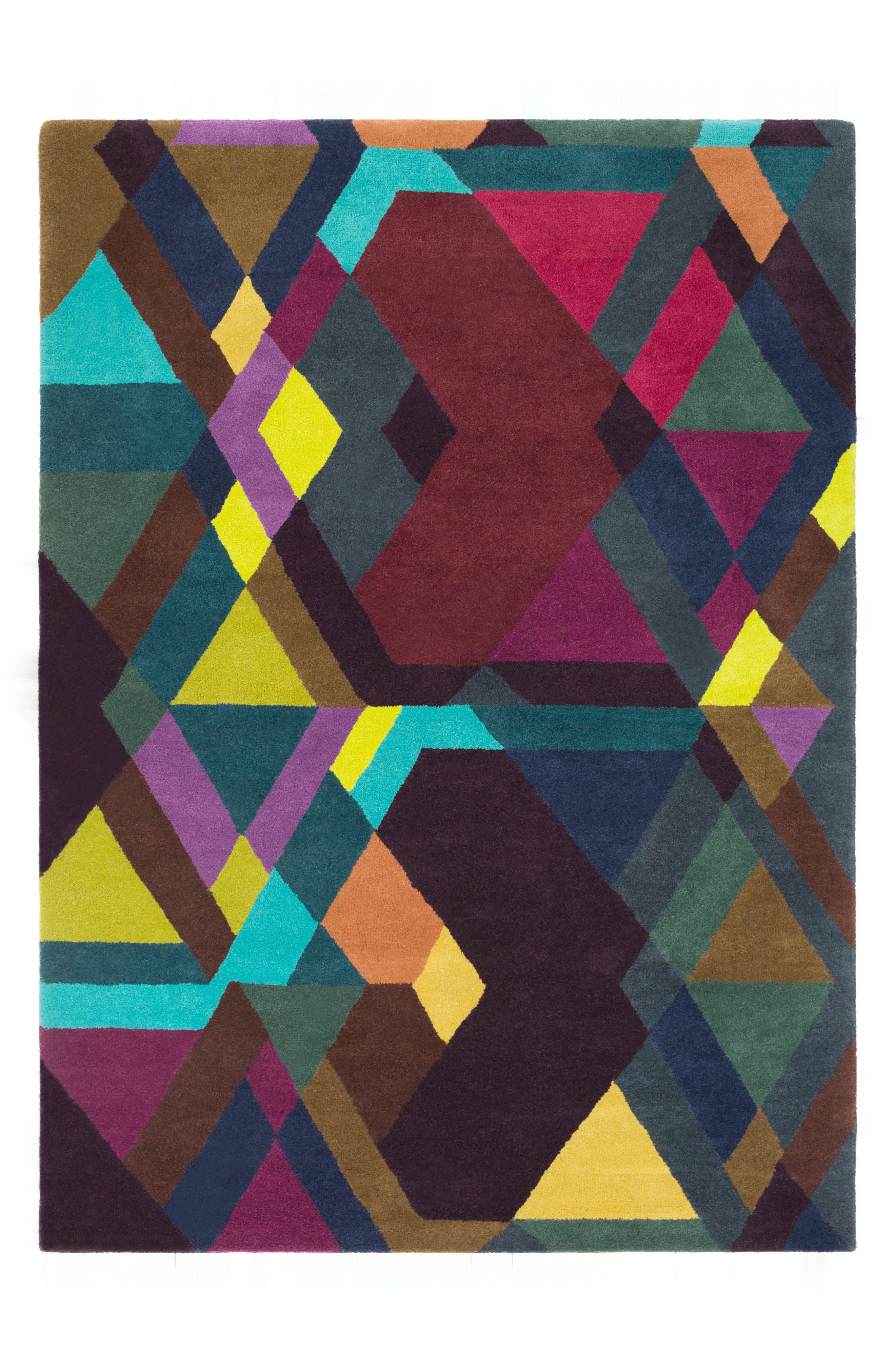 x Surya Iconic Wool Area Rug,                         Main,                         color, PURPLE