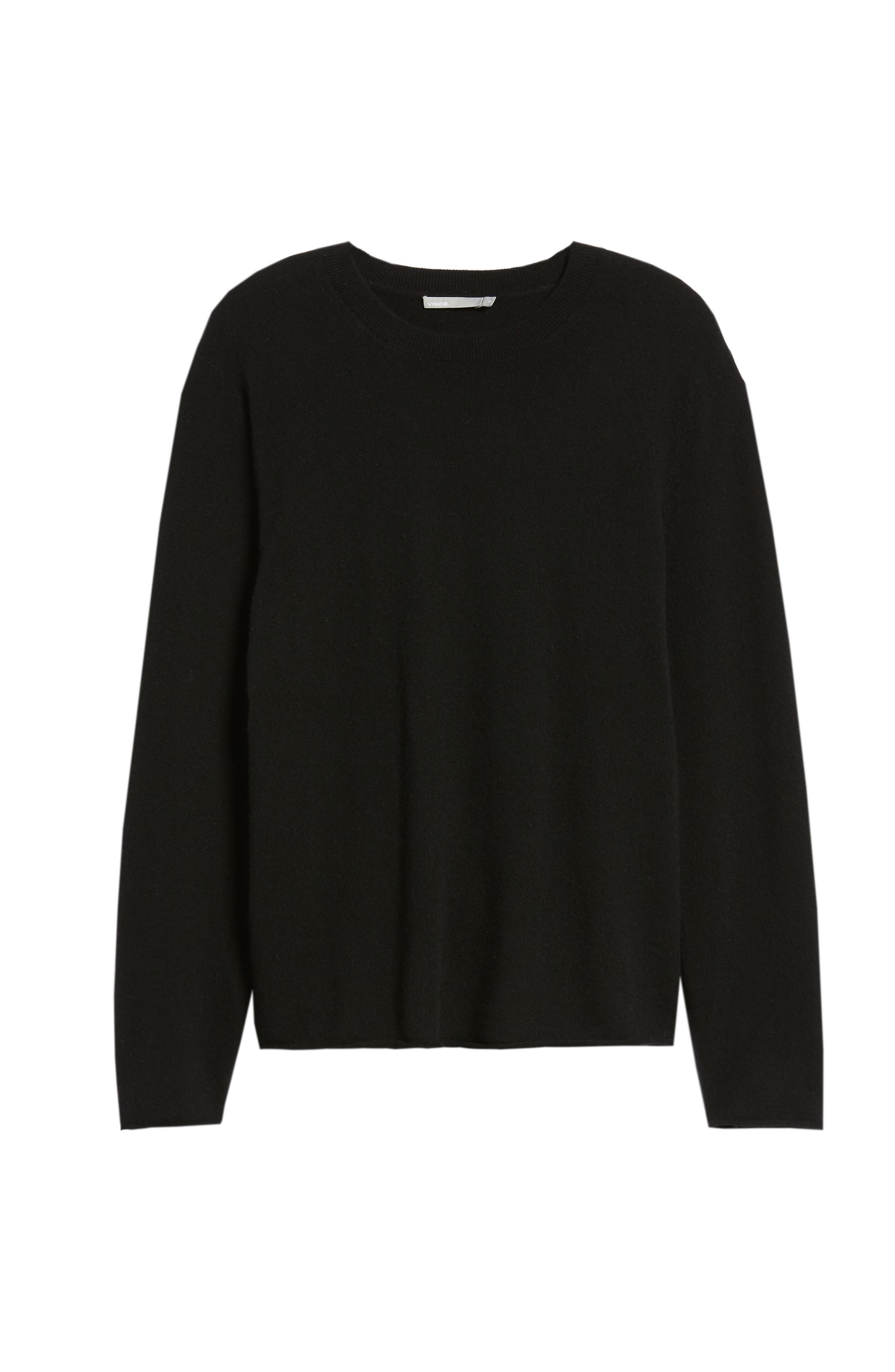 Regular Fit Cashmere Sweater,                             Alternate thumbnail 6, color,                             BLACK